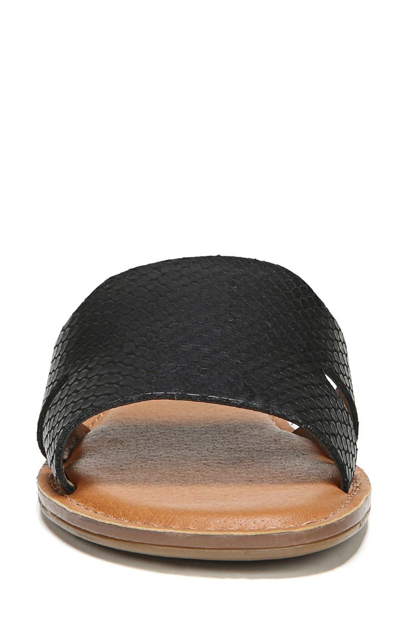 Ginelle Slide Sandal,                             Alternate thumbnail 4, color,                             BLACK PRINTED LEATHER