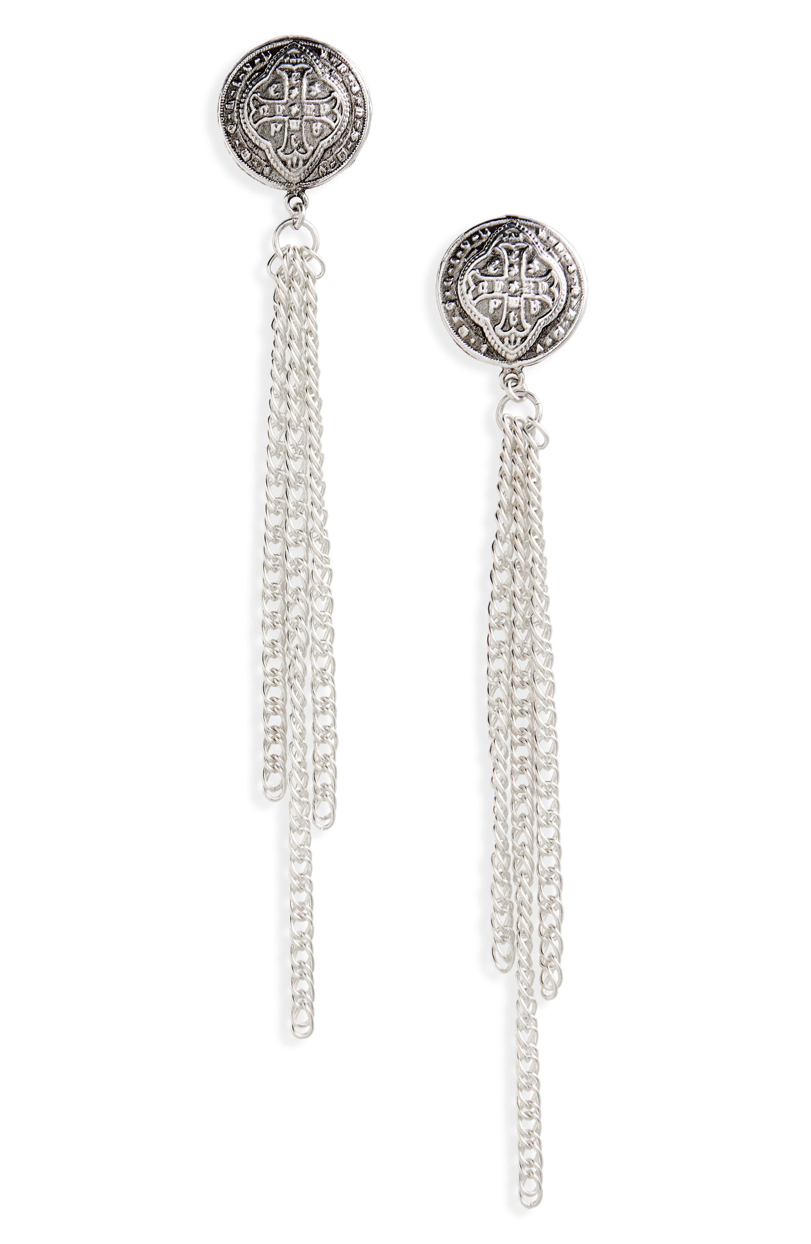 Virgins Saints and Angels Contessa Earrings,                         Main,                         color, SILVER