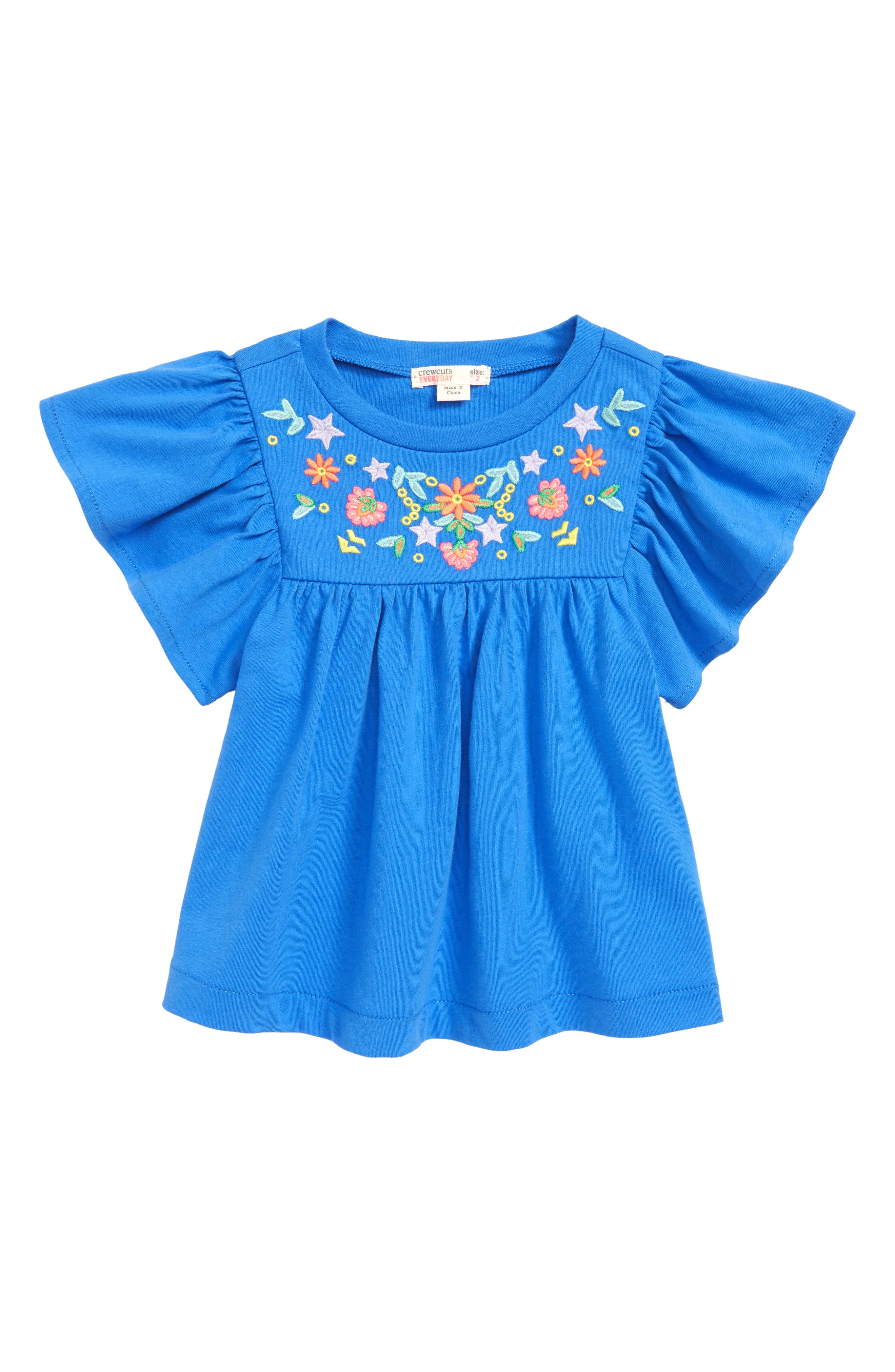 Embroidered Bell Sleeve Tee,                             Main thumbnail 2, color,