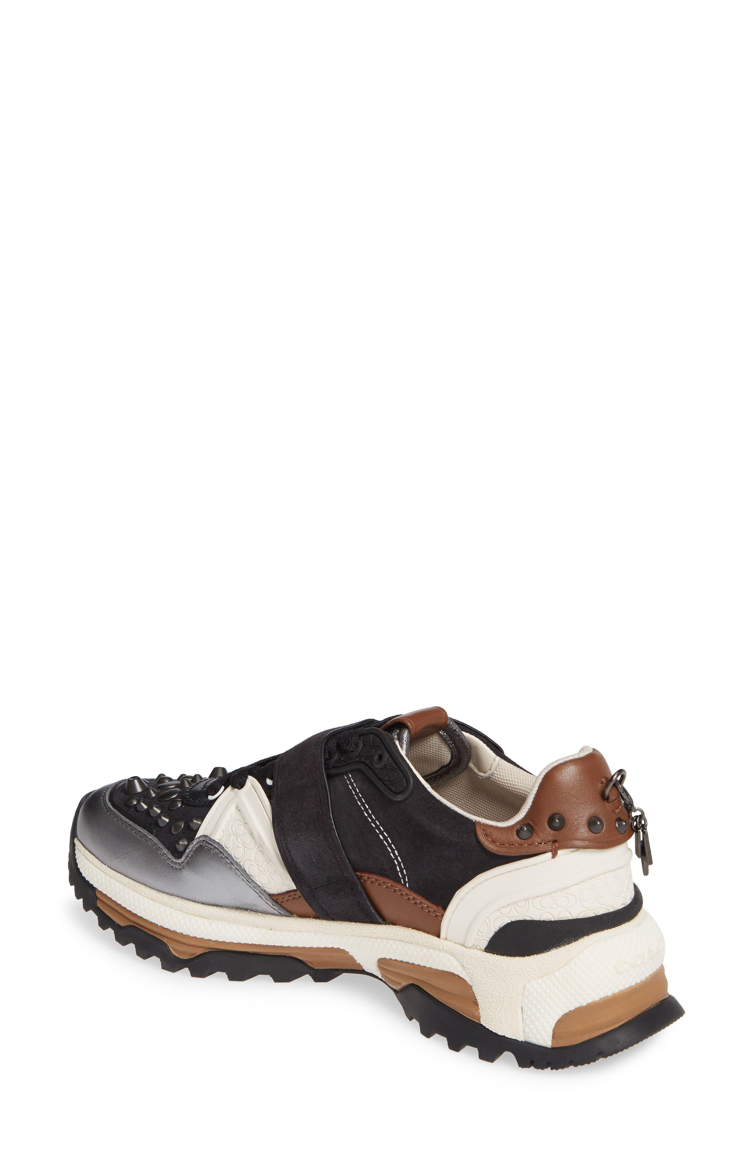 C143 Studded Sneaker,                             Alternate thumbnail 2, color,                             BLACK/ GUNMETAL LEATHER