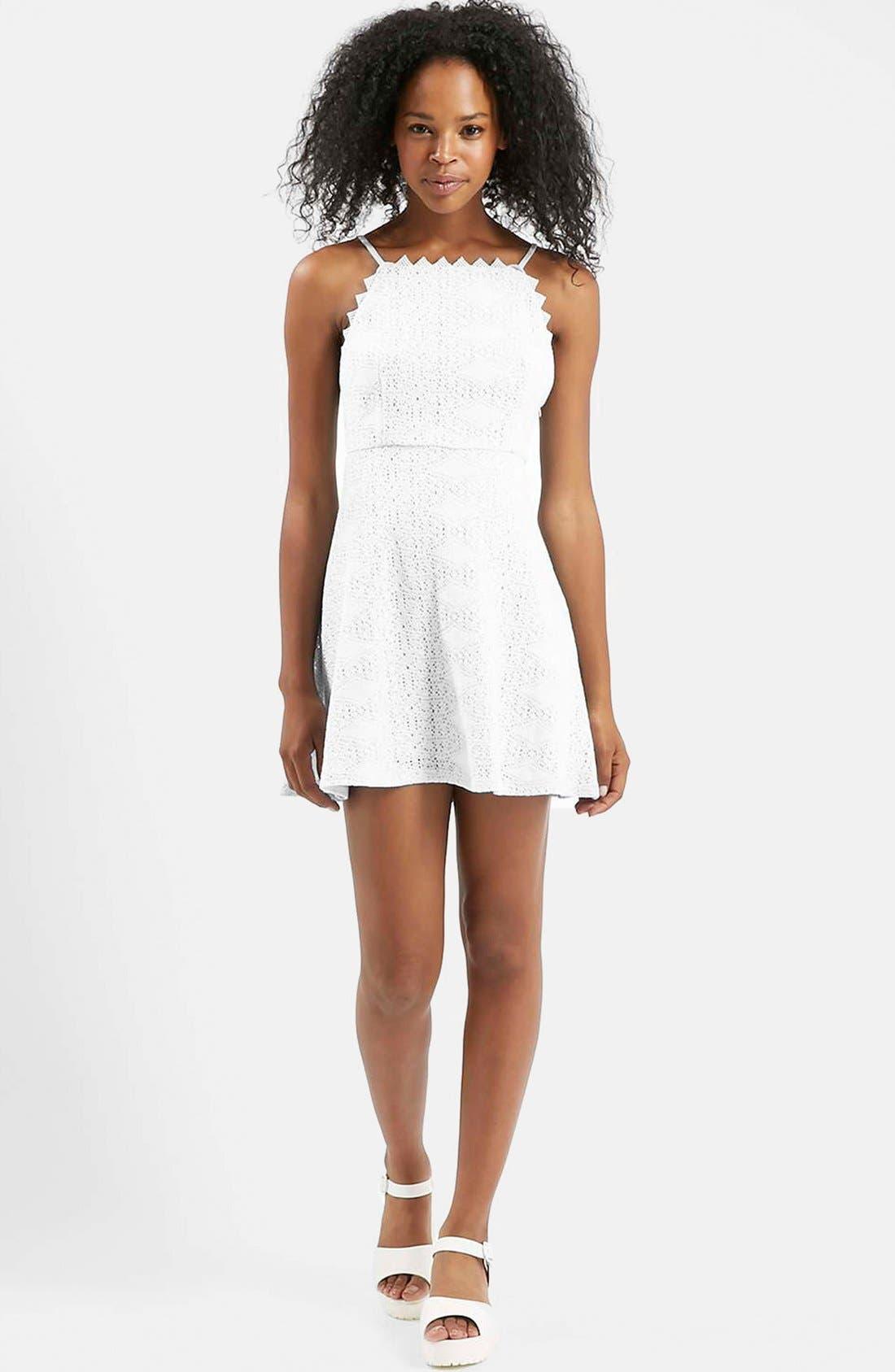 TOPSHOP,                             Crochet Dress,                             Main thumbnail 1, color,                             900