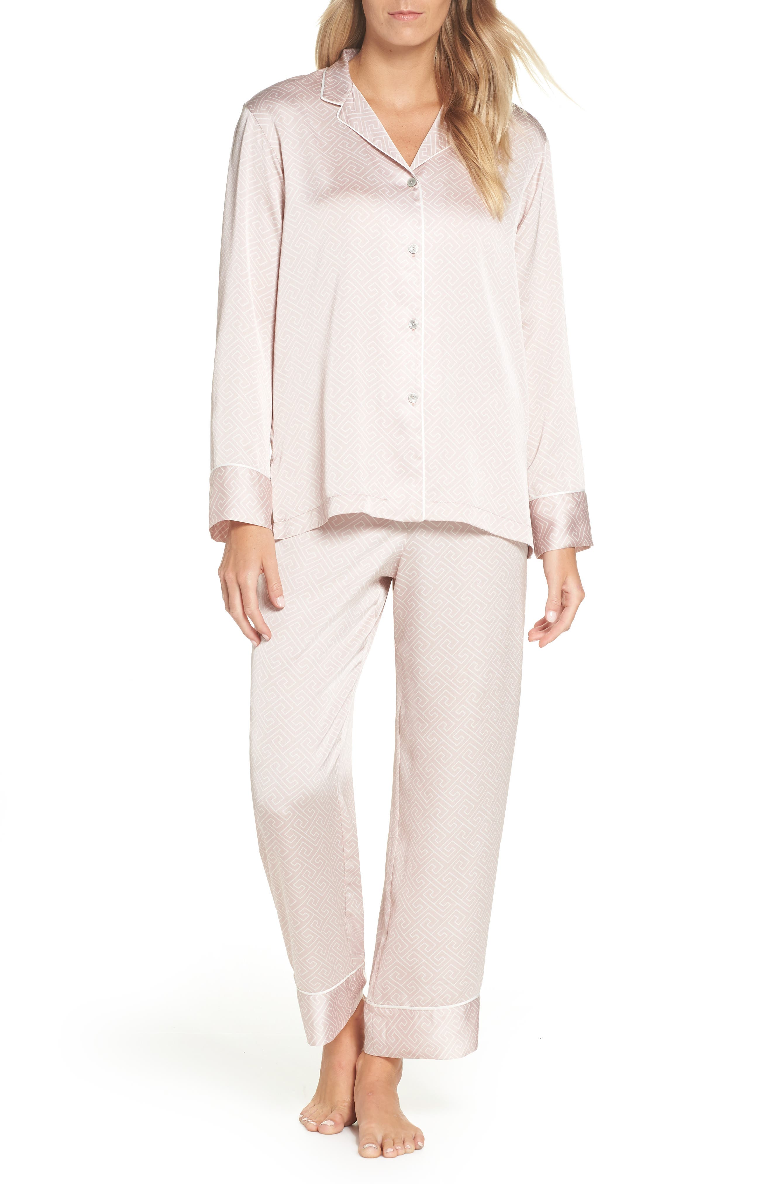 Labyrinth Satin Pajamas,                         Main,                         color, ROSE BEIGE