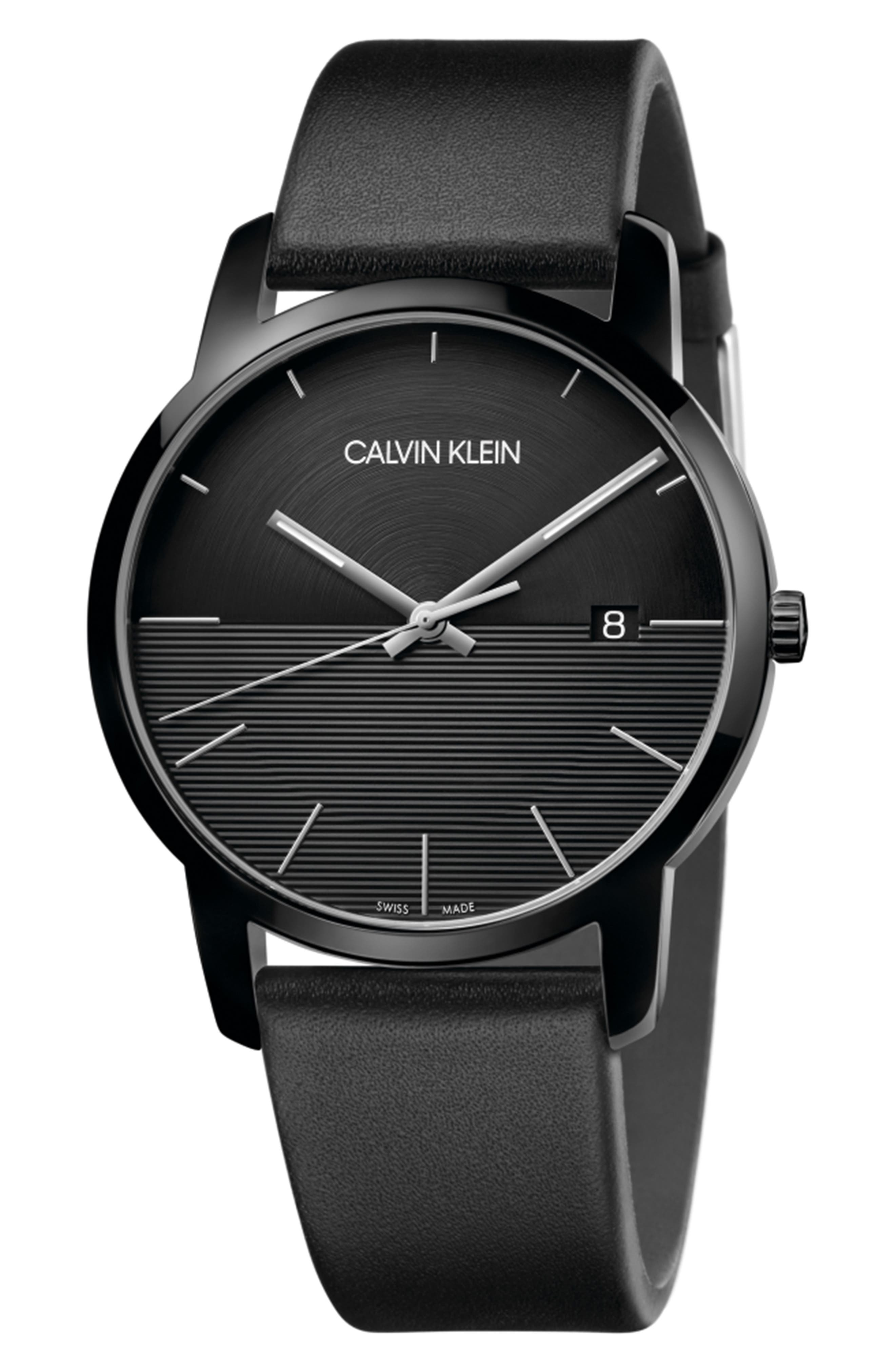 City Leather Strap Watch, 43mm, Main, color, BLACK