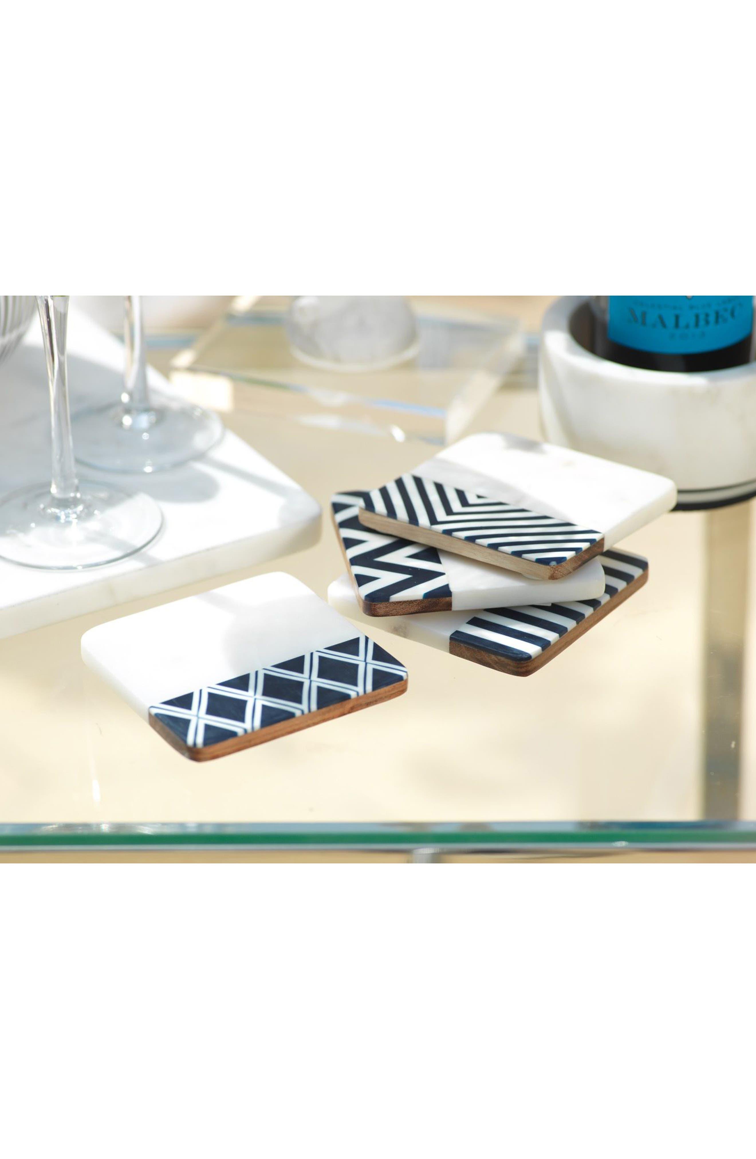 Marine Set of 4 Wood & Marble Coasters,                             Alternate thumbnail 2, color,                             WHITE/ GREY/ BLACK
