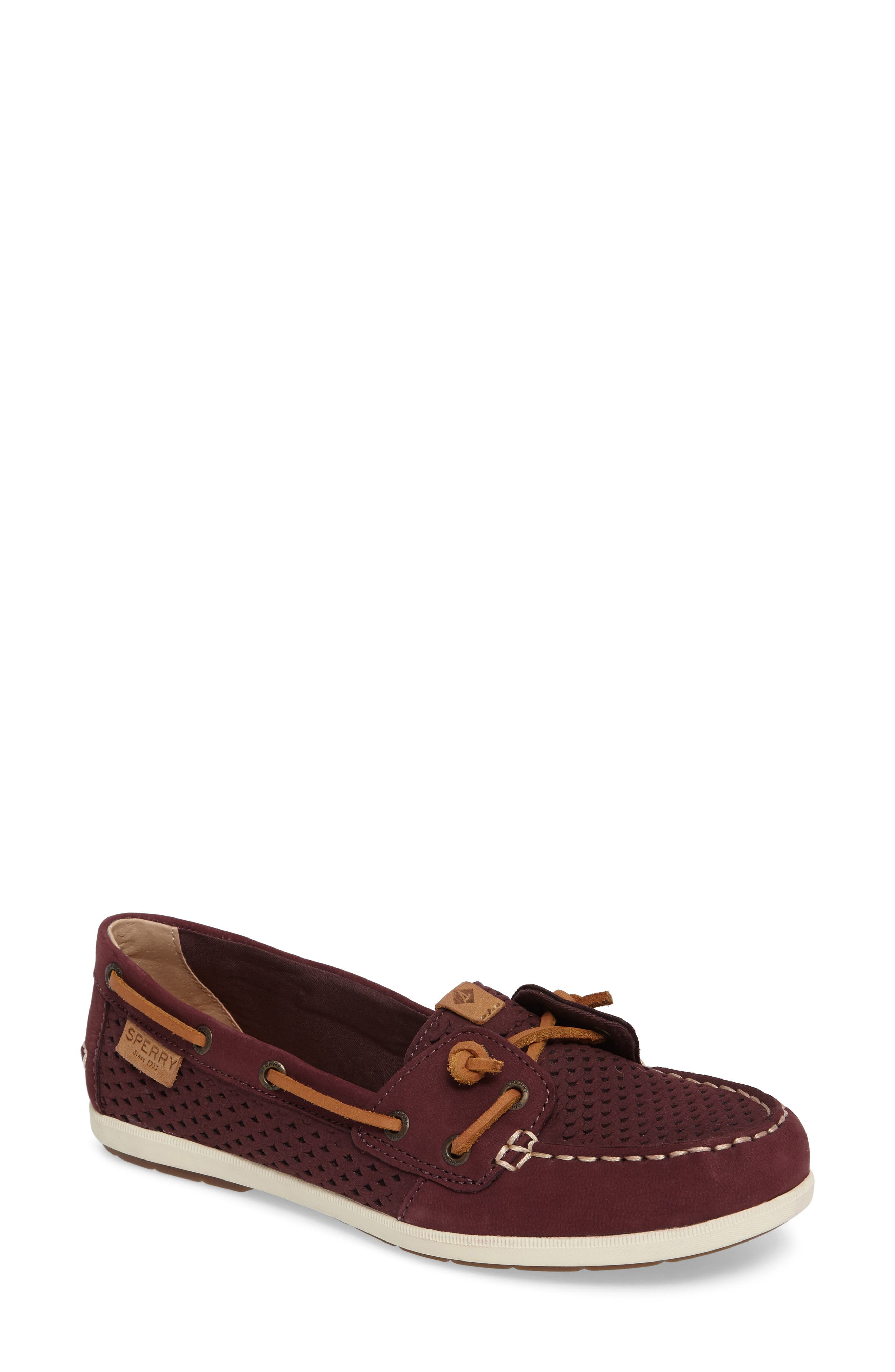 Coil Ivy Perforated Boat Shoe,                             Main thumbnail 1, color,