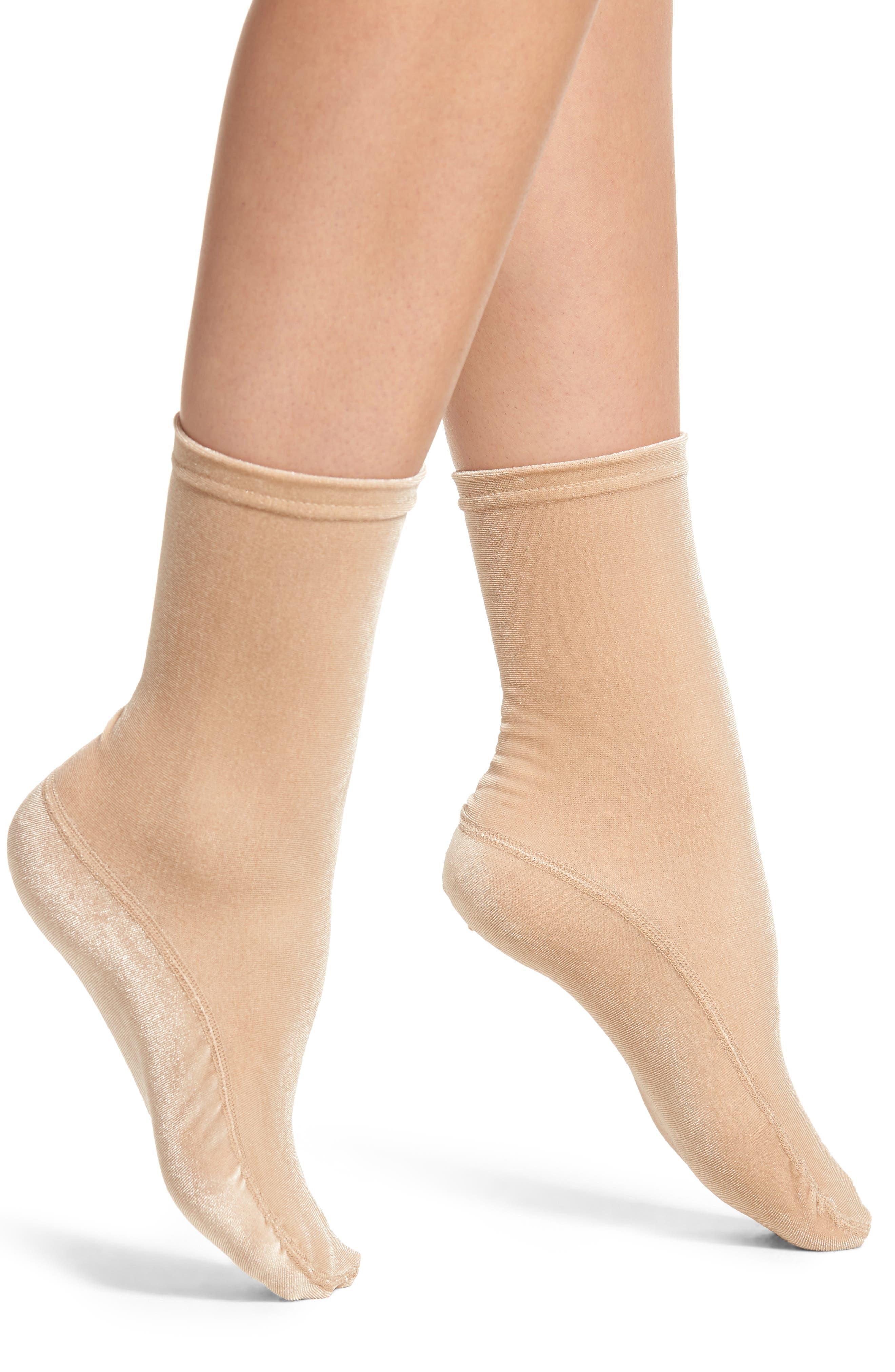 Velvet High Shine Crew Socks,                         Main,                         color, CHAMPAGNE
