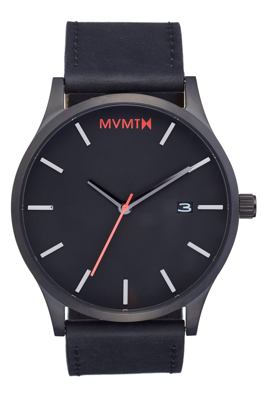 Leather Strap Watch, 45mm,                             Main thumbnail 1, color,                             BLACK/ BLACK