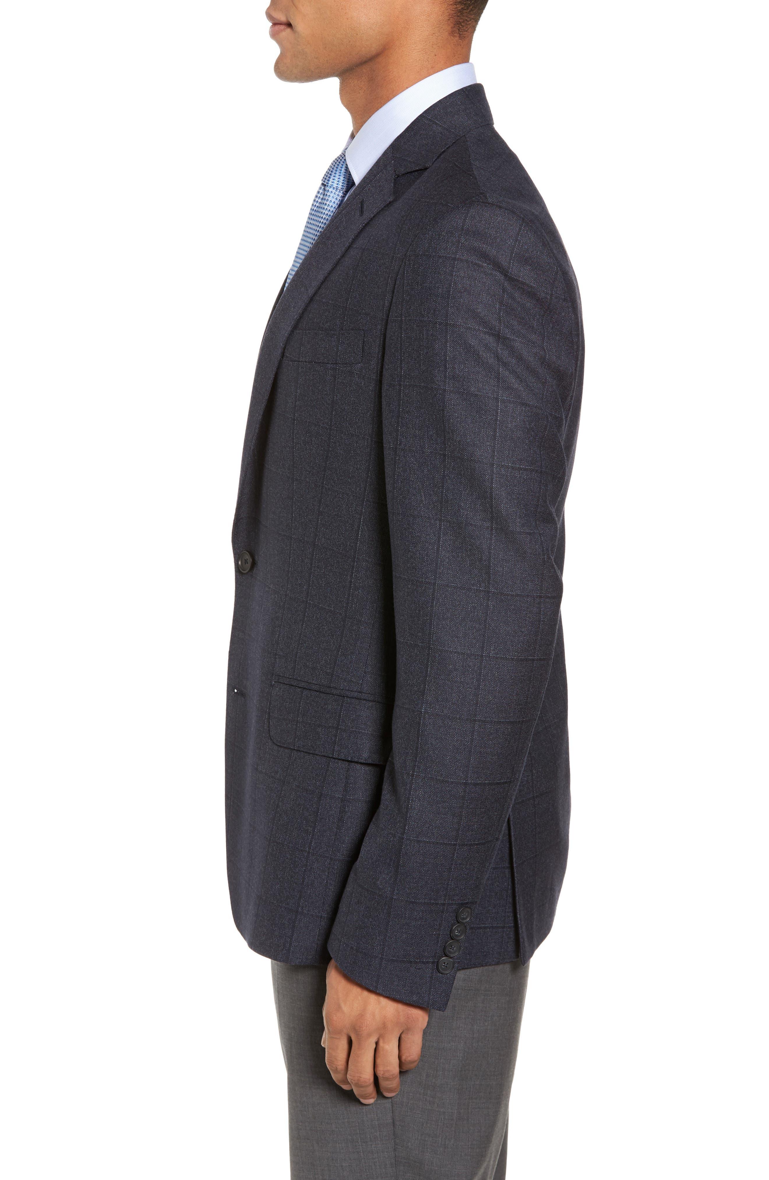 Trim Fit Windowpane Wool Sport Coat,                             Alternate thumbnail 3, color,