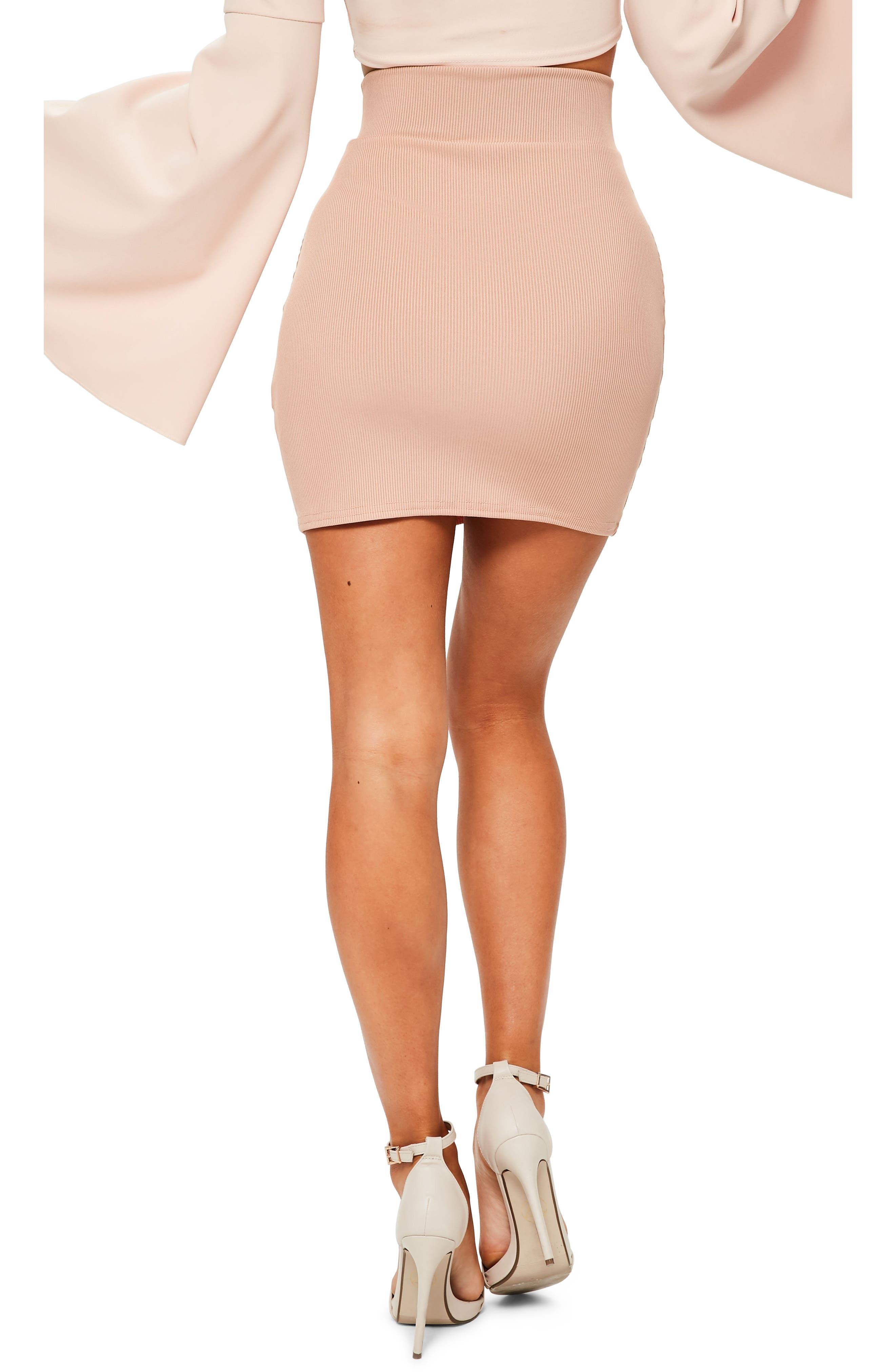 Ribbed Lace-Up Waist Miniskirt,                             Alternate thumbnail 2, color,                             274