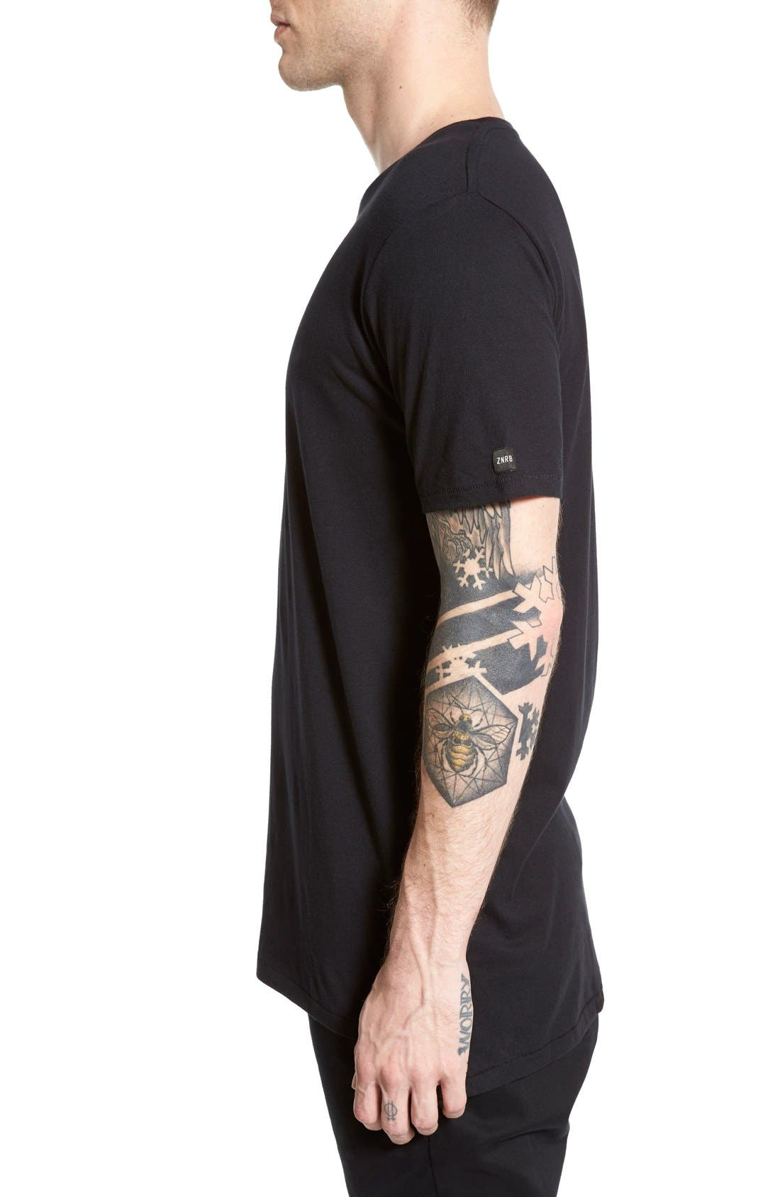 'Flintlock' Longline Crewneck T-Shirt,                             Alternate thumbnail 3, color,                             BLACK