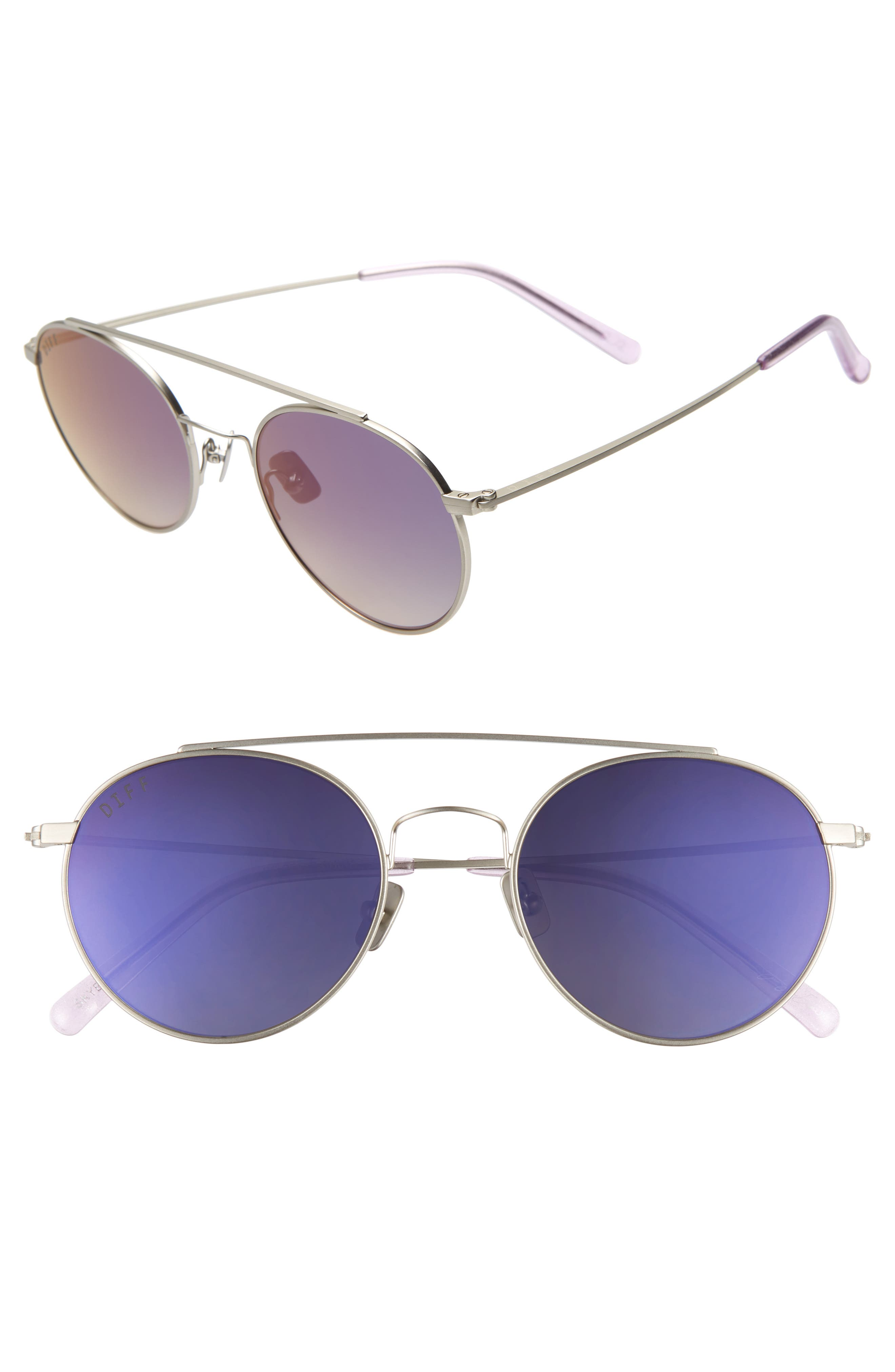 x Jessie James Decker Skye 52mm Polarized Round Sunglasses,                         Main,                         color, BRUSHED SILVER/ PURPLE