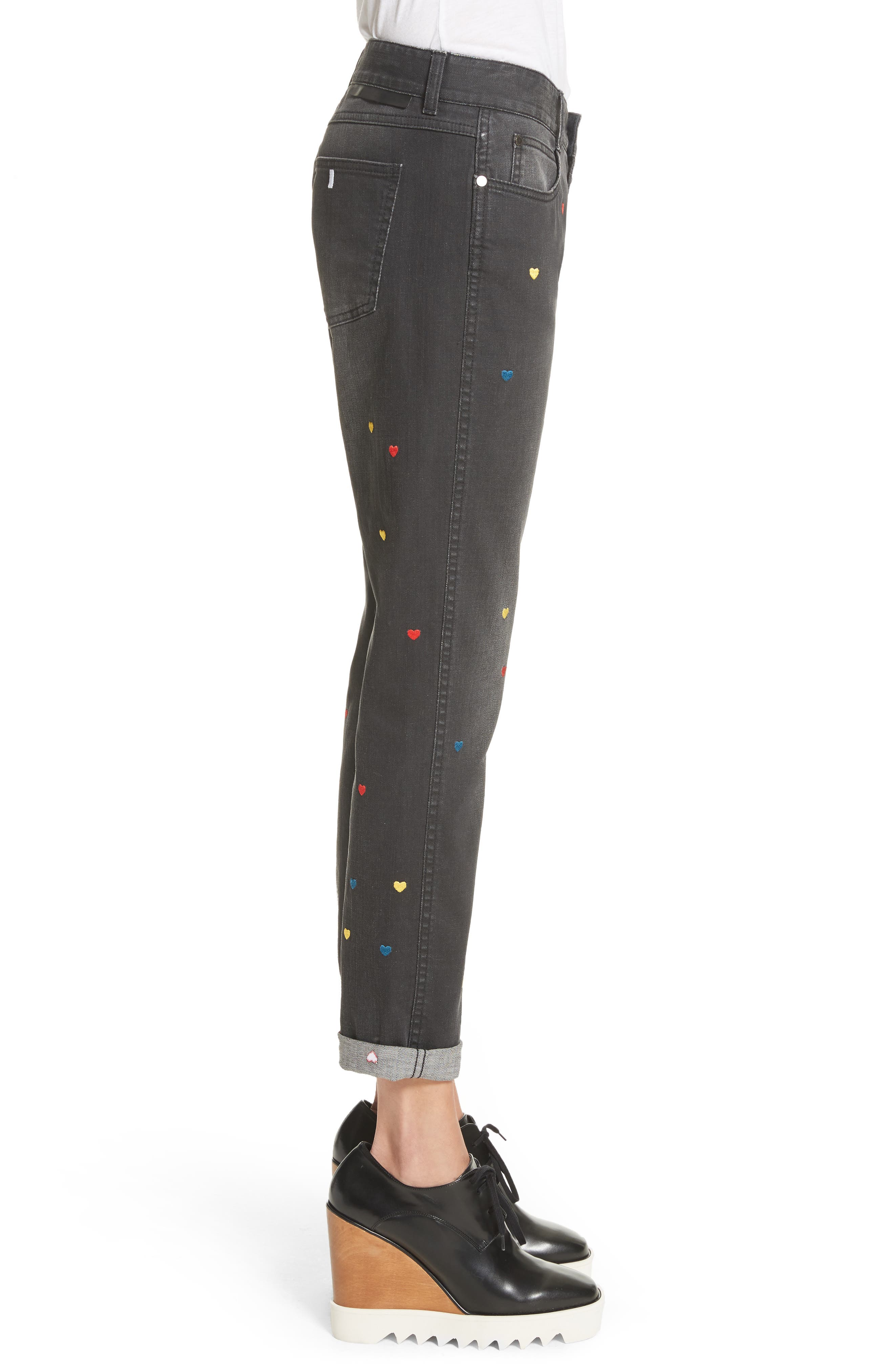 Heart Embroidered Skinny Boyfriend Jeans,                             Alternate thumbnail 3, color,                             001