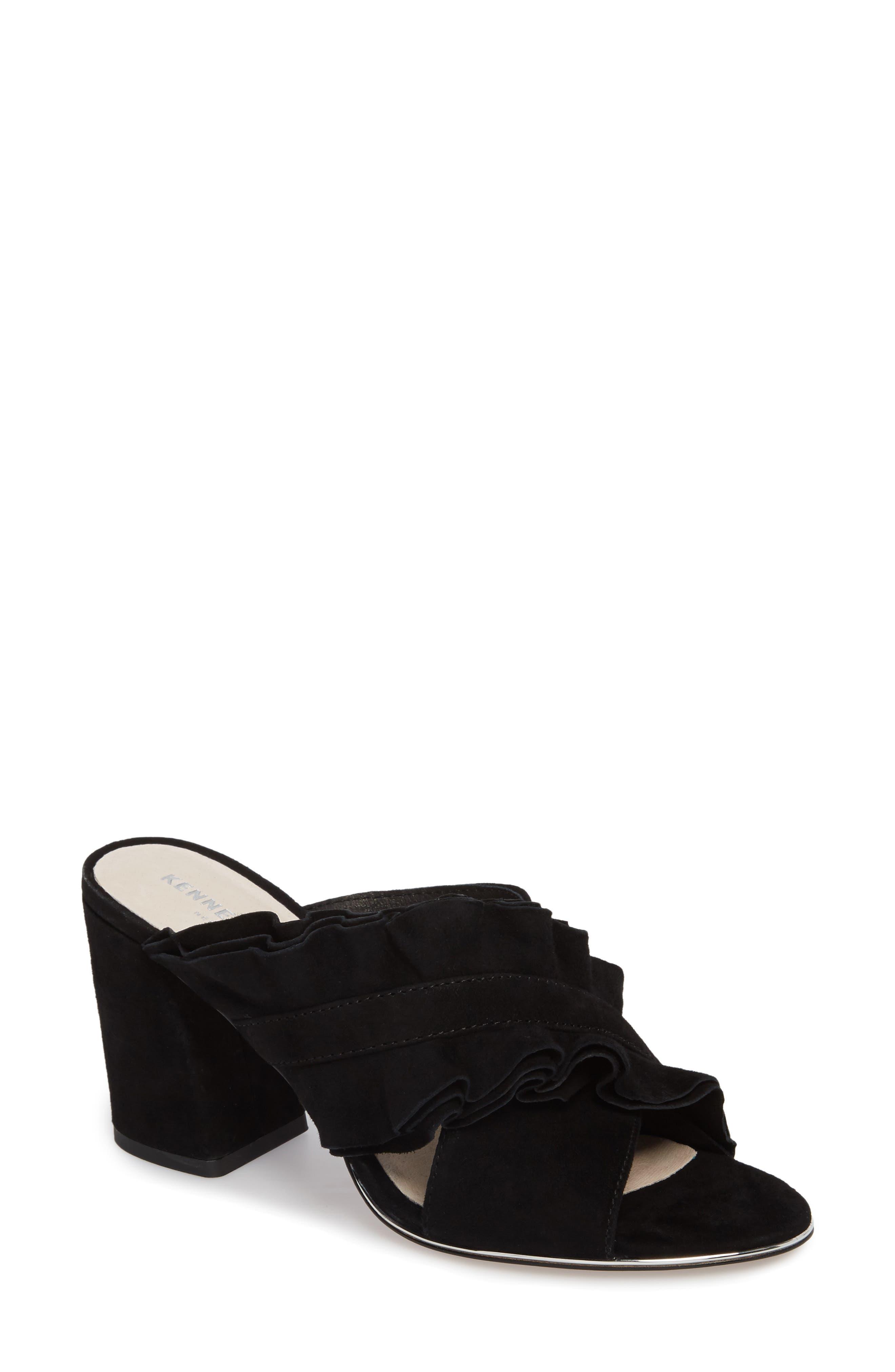 Laken Ruffle Cross Strap Sandal,                         Main,                         color, 001