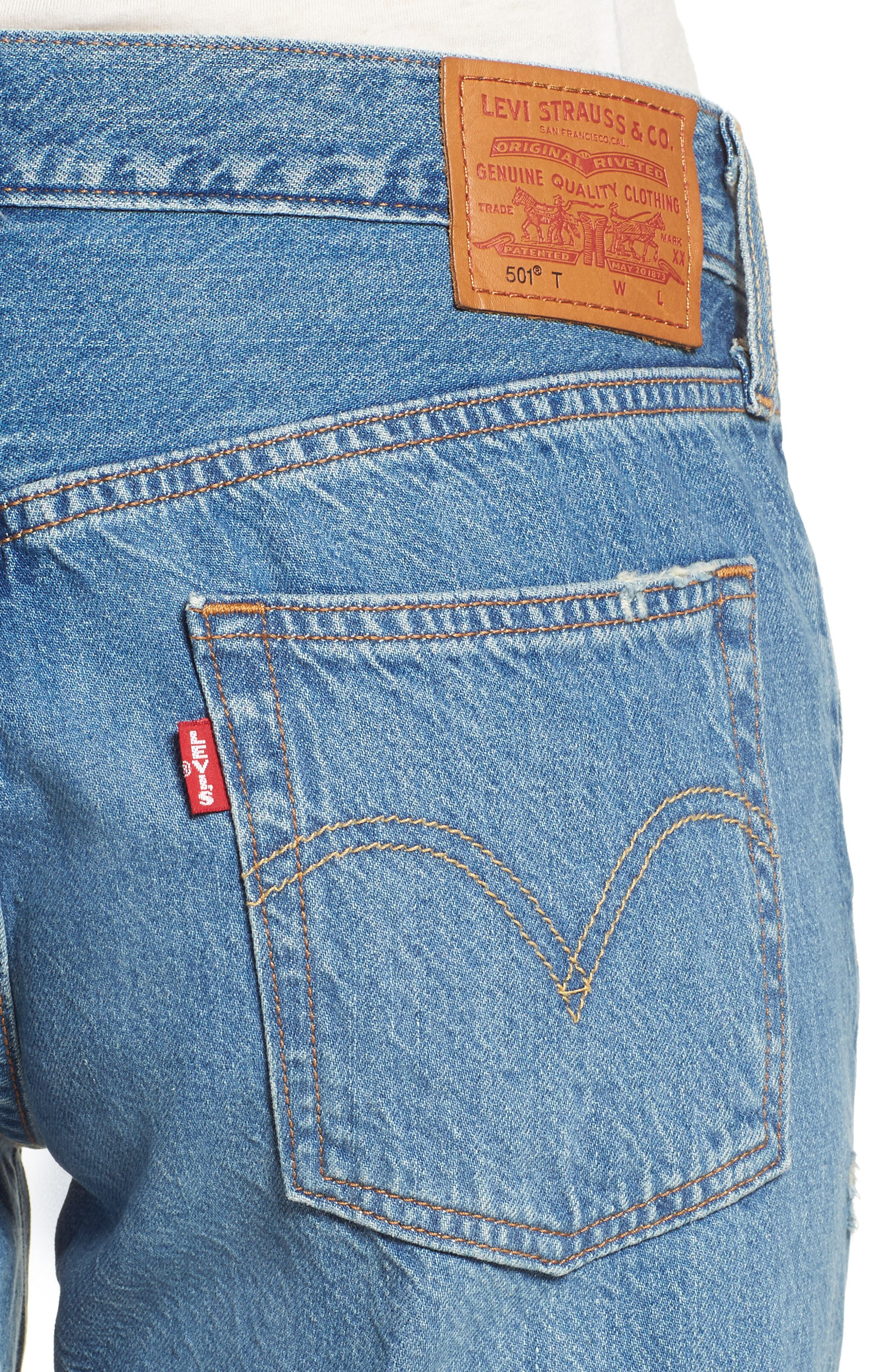 501<sup>™</sup> Taper Ripped Boyfriend Jeans,                             Alternate thumbnail 4, color,                             420