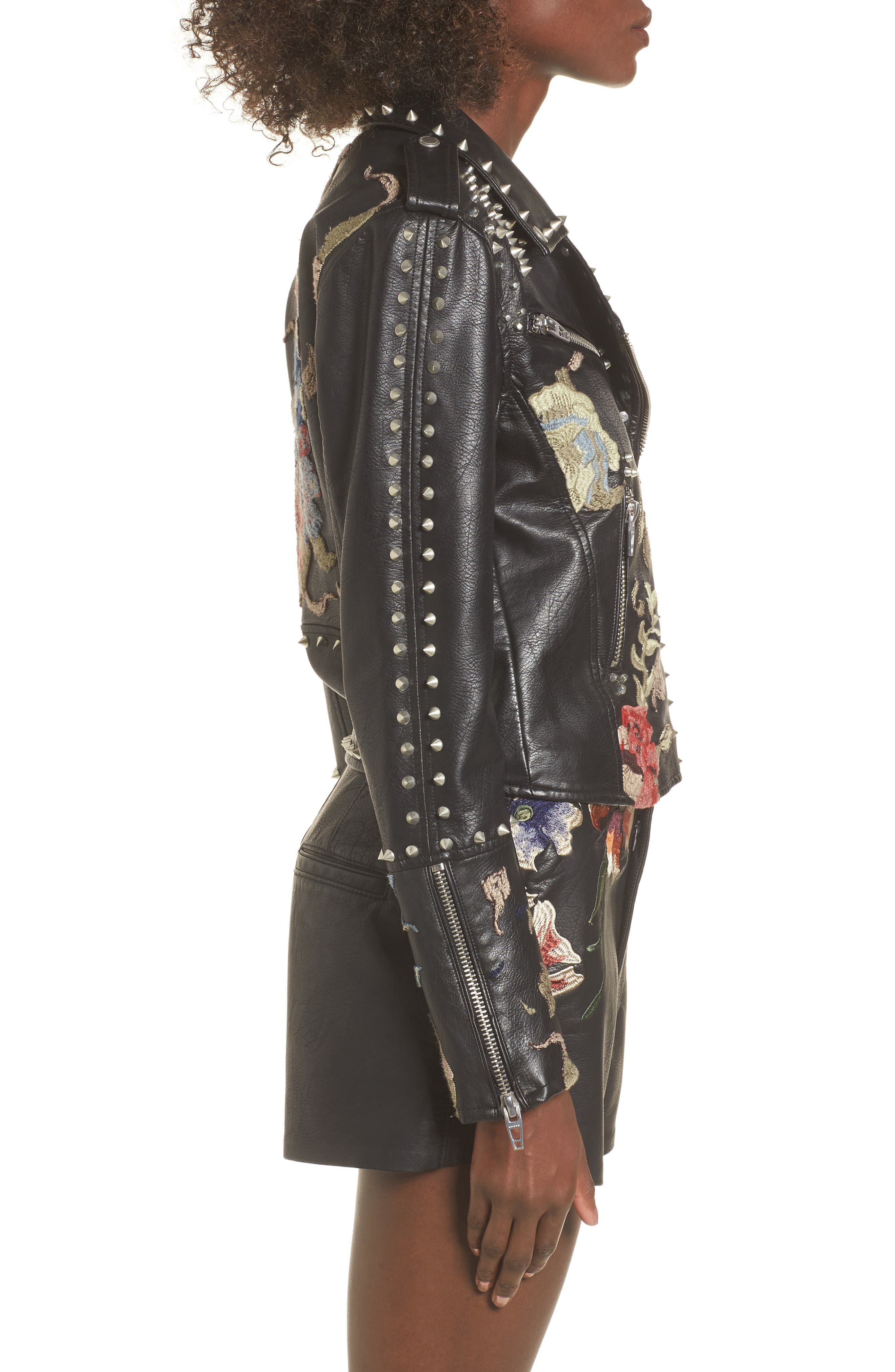 Embroidered Studded Moto Jacket,                             Alternate thumbnail 3, color,                             001
