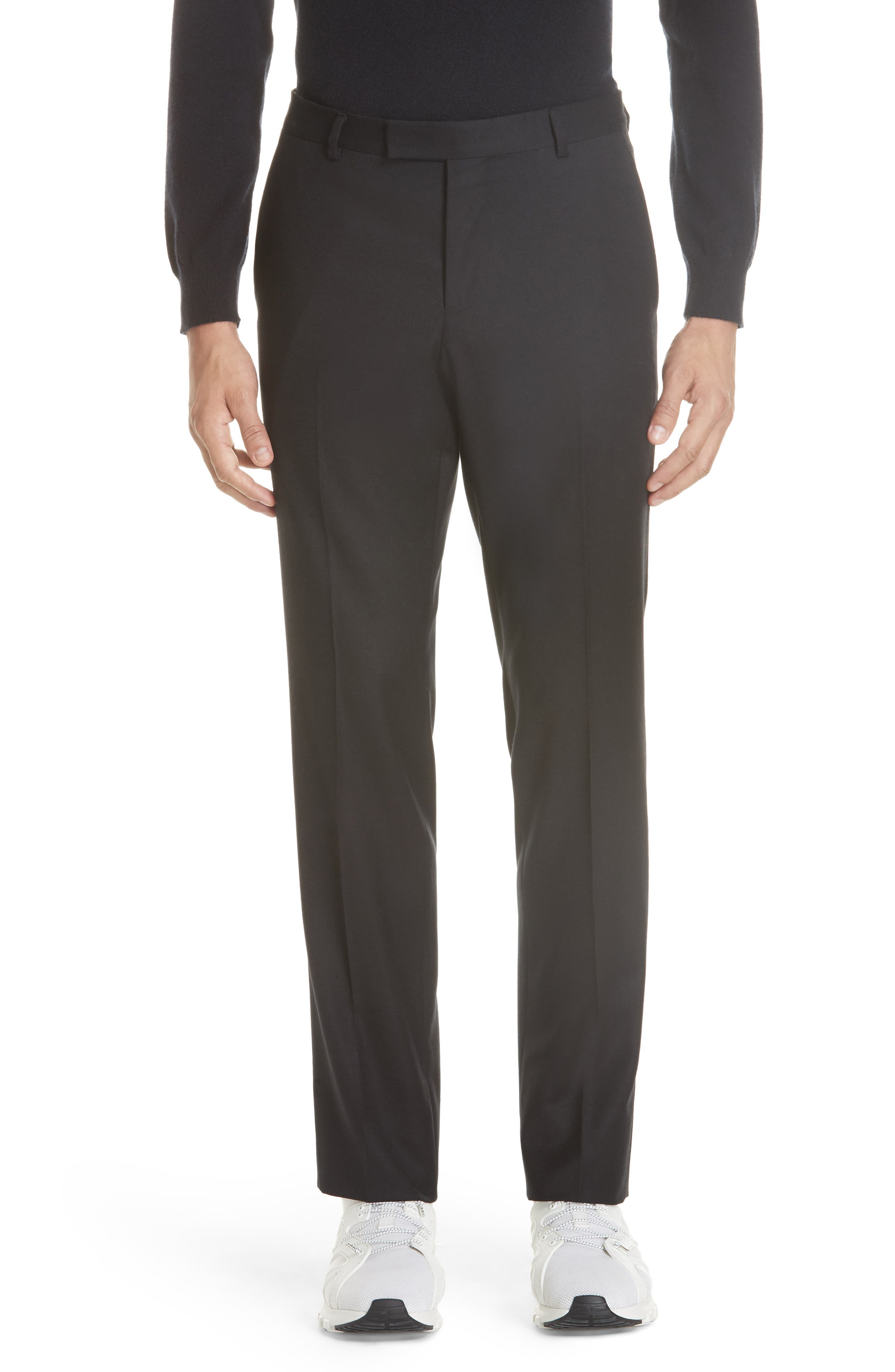 Flat Front Solid Stretch Wool Trousers,                         Main,                         color, BLACK