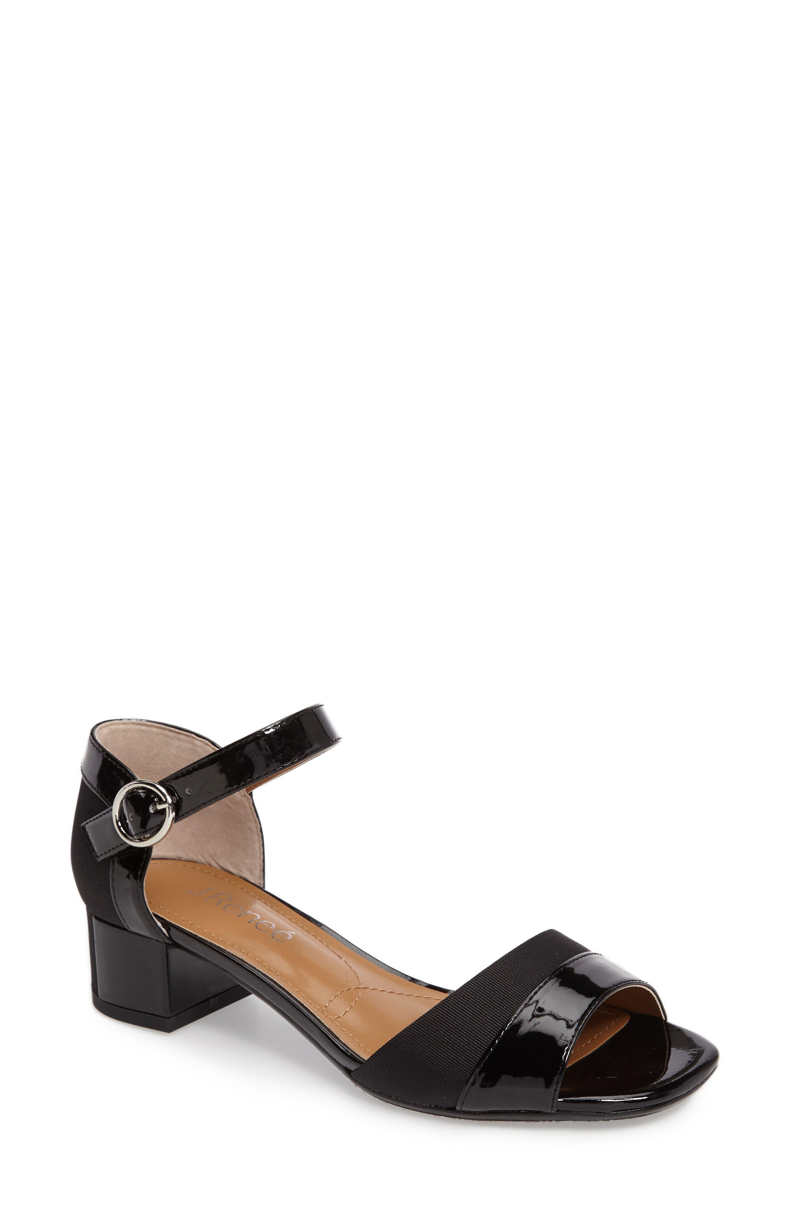 Pebblebeach Block Heel Sandal,                             Main thumbnail 1, color,                             001