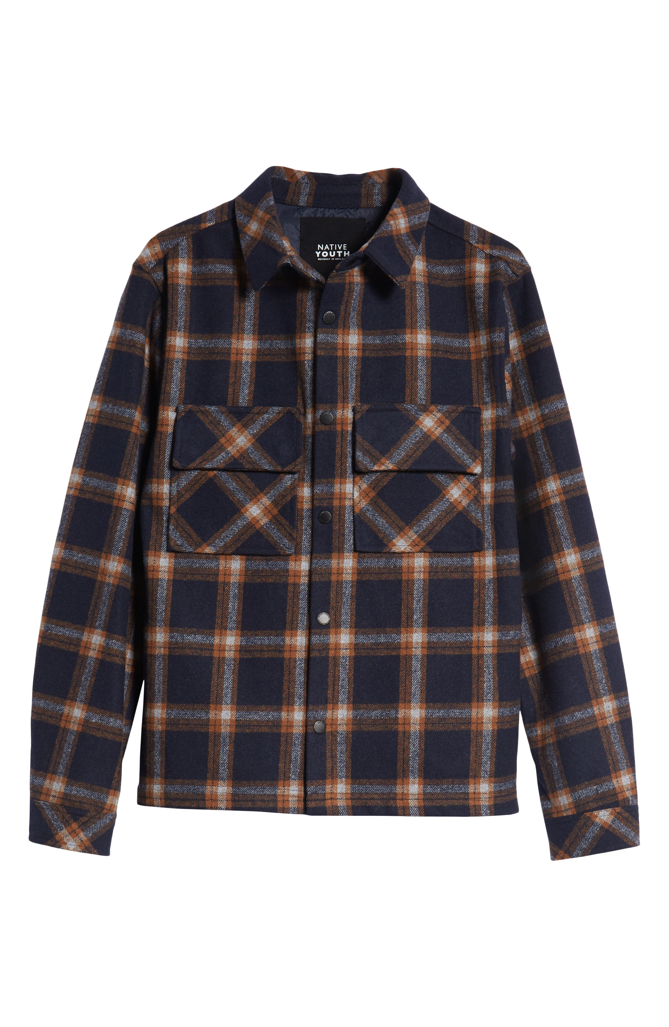 NATIVE YOUTH,                             Check Flannel Shirt,                             Alternate thumbnail 5, color,                             NAVY