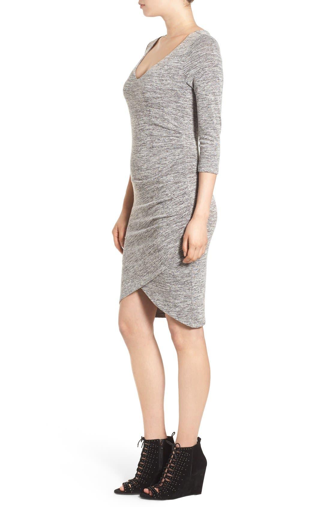 V-Neck Ruched Dress,                             Alternate thumbnail 4, color,                             035