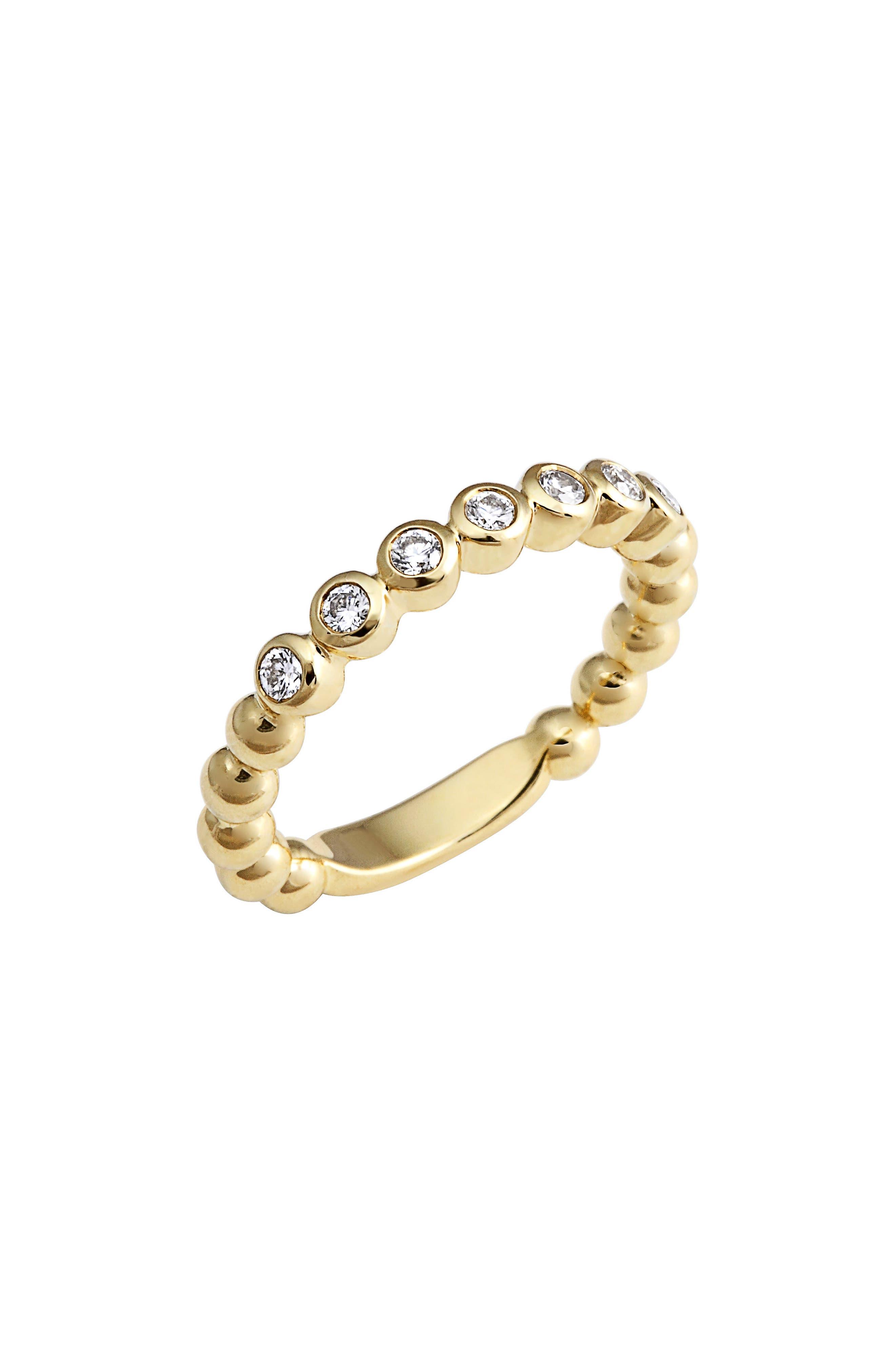 Covet Stone Caviar Stack Ring,                             Alternate thumbnail 2, color,                             GOLD/ DIAMOND