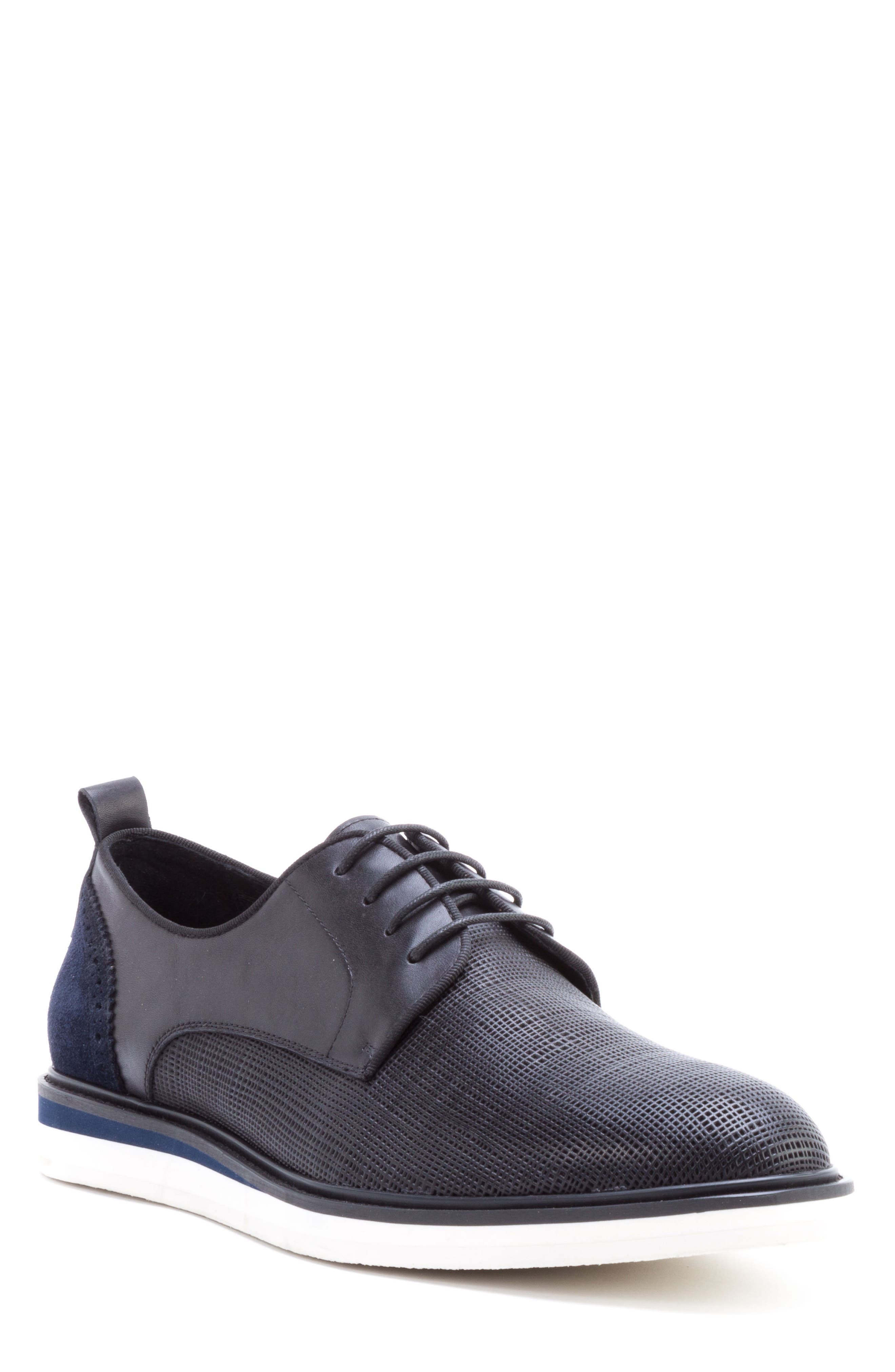 Stem Textured Plain Toe Derby,                         Main,                         color, BLACK LEATHER