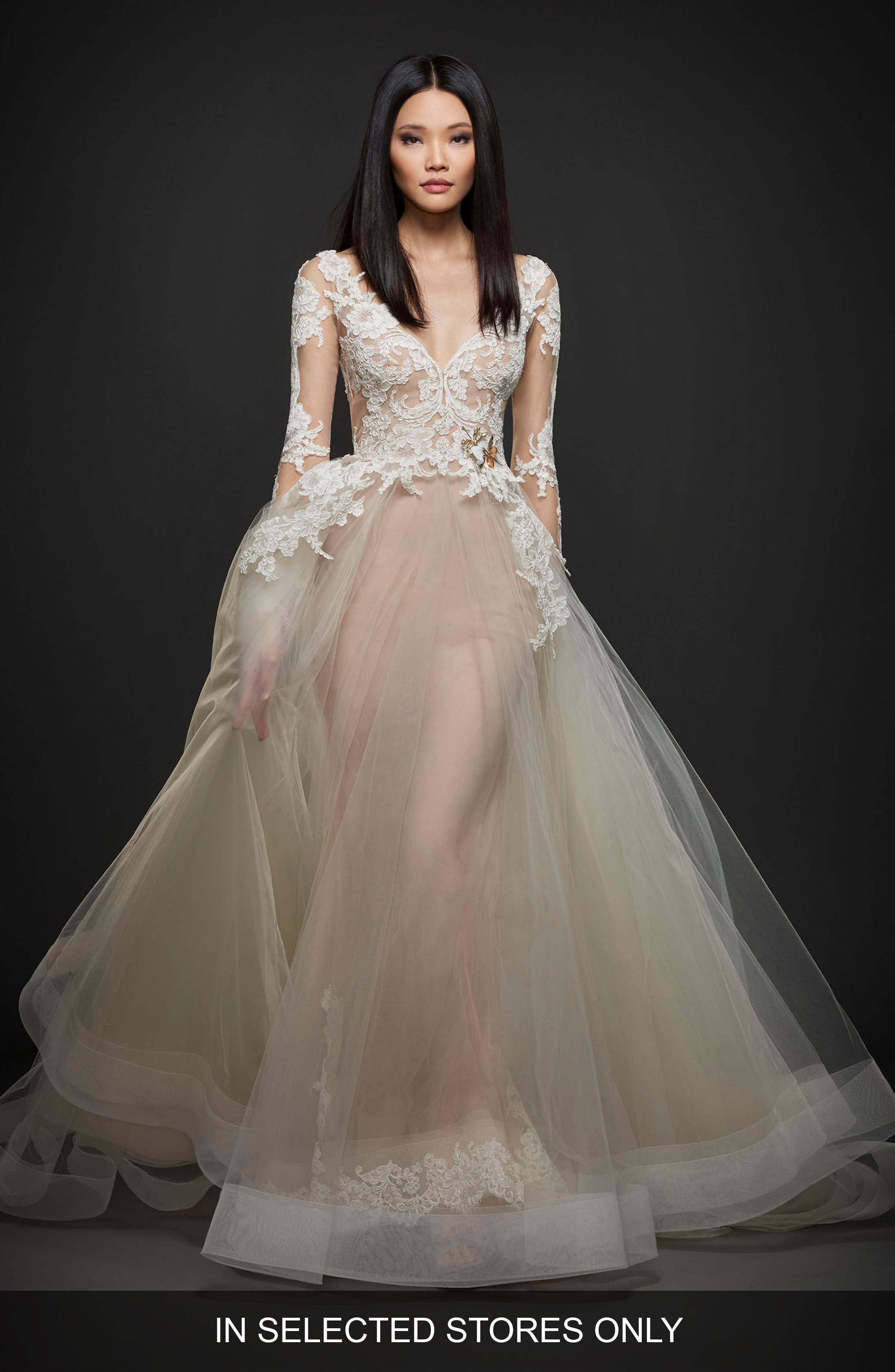 Long Sleeve Lace & Organza Ballgown,                             Main thumbnail 1, color,                             IVORY