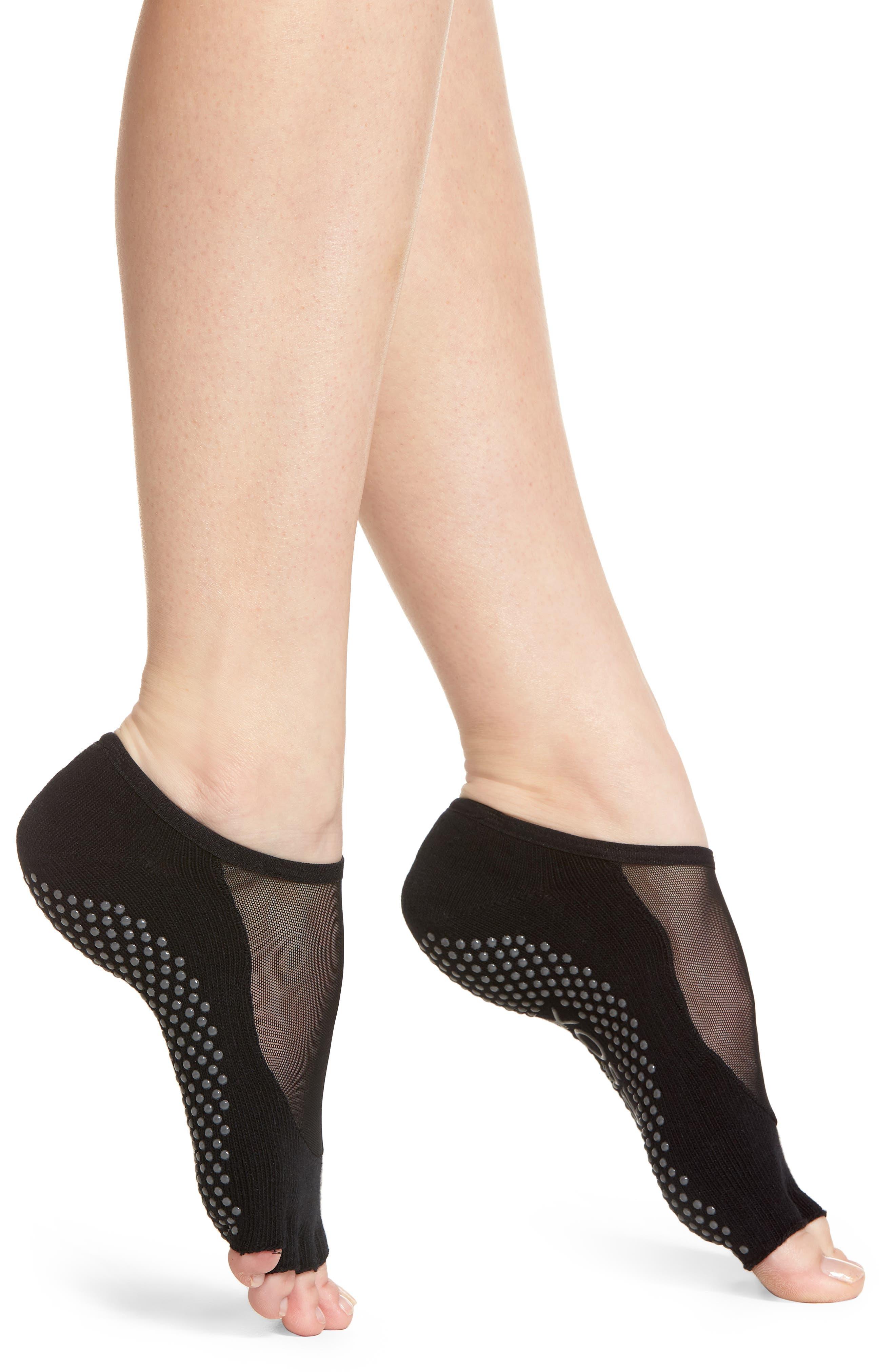 Luna Half Toe Gripper Socks,                         Main,                         color, BLACK