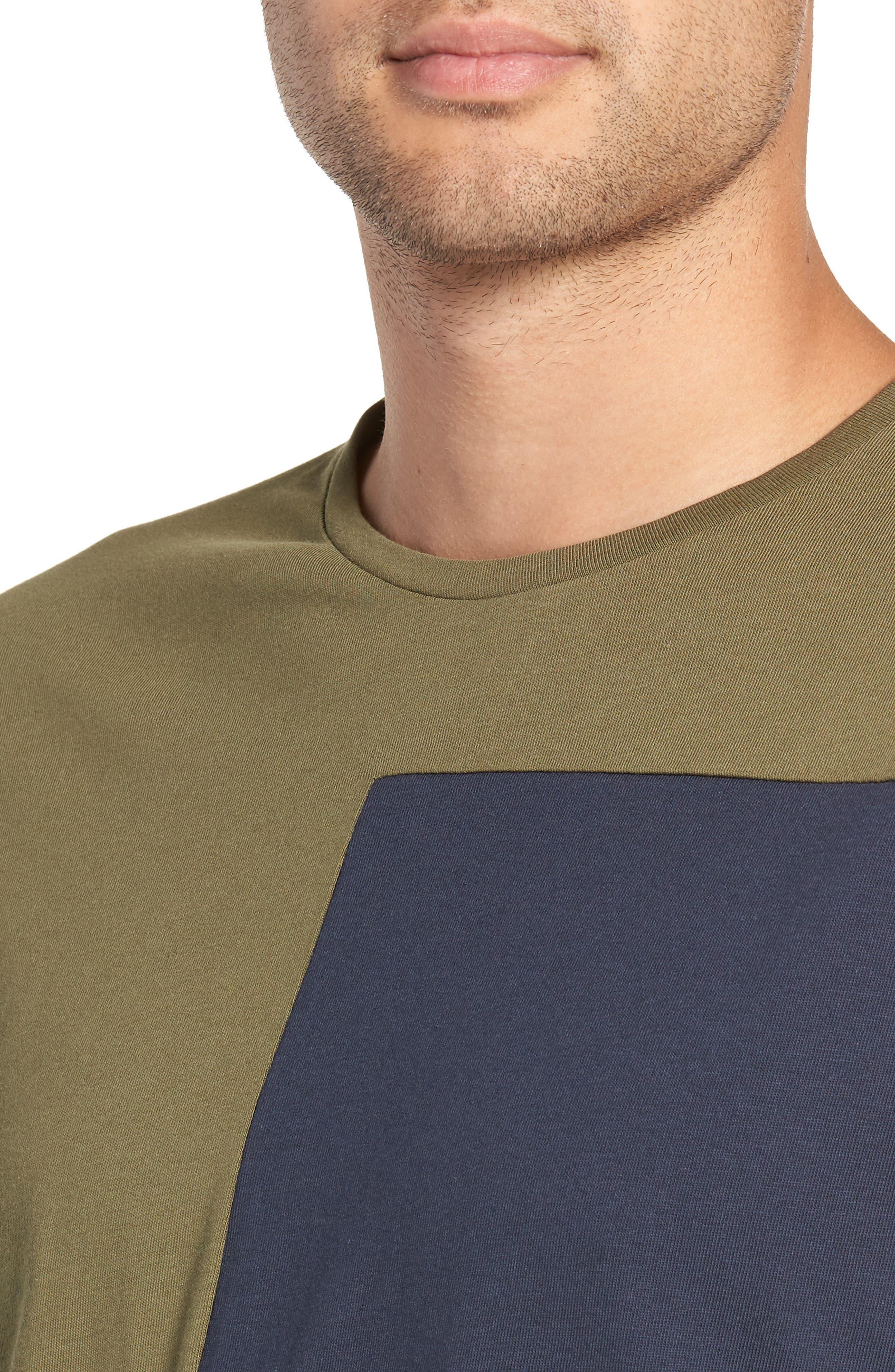 Colorblock Long Sleeve T-Shirt,                             Alternate thumbnail 4, color,                             OLIVE