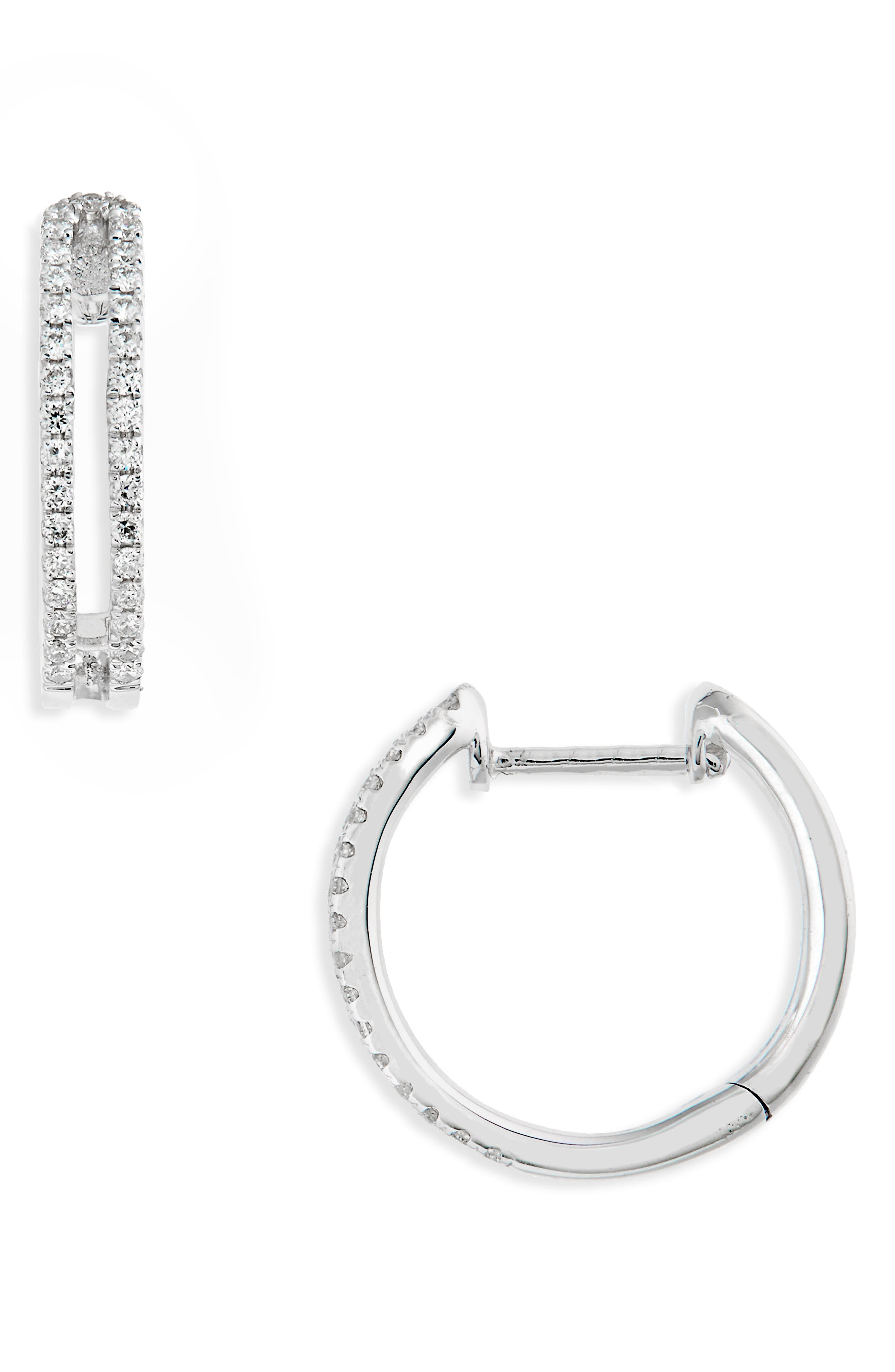 Geo Diamond Hoop Earrings,                             Main thumbnail 1, color,                             WHITE GOLD