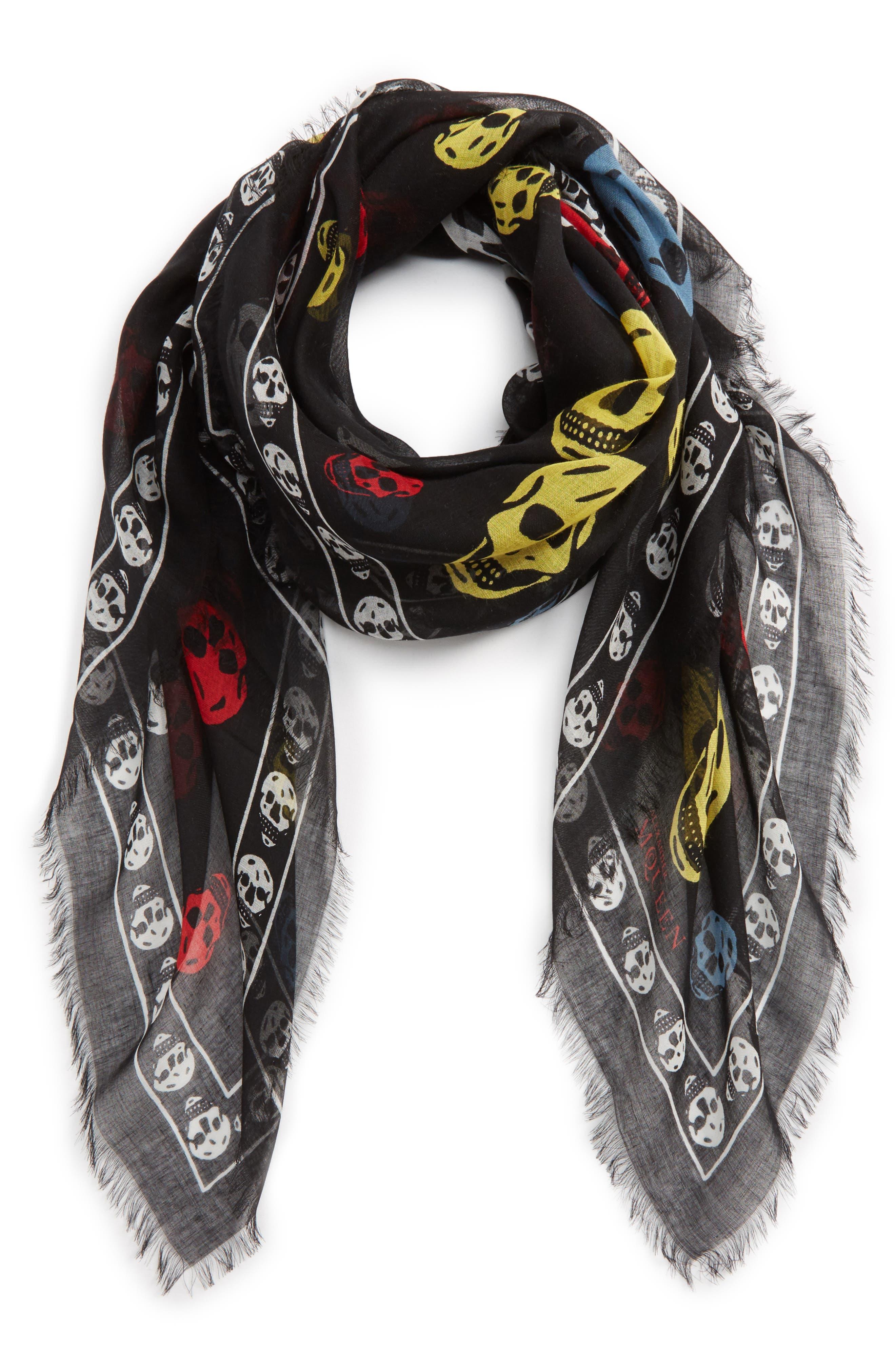 Multicolor Skull Silk & Modal Scarf,                         Main,                         color,