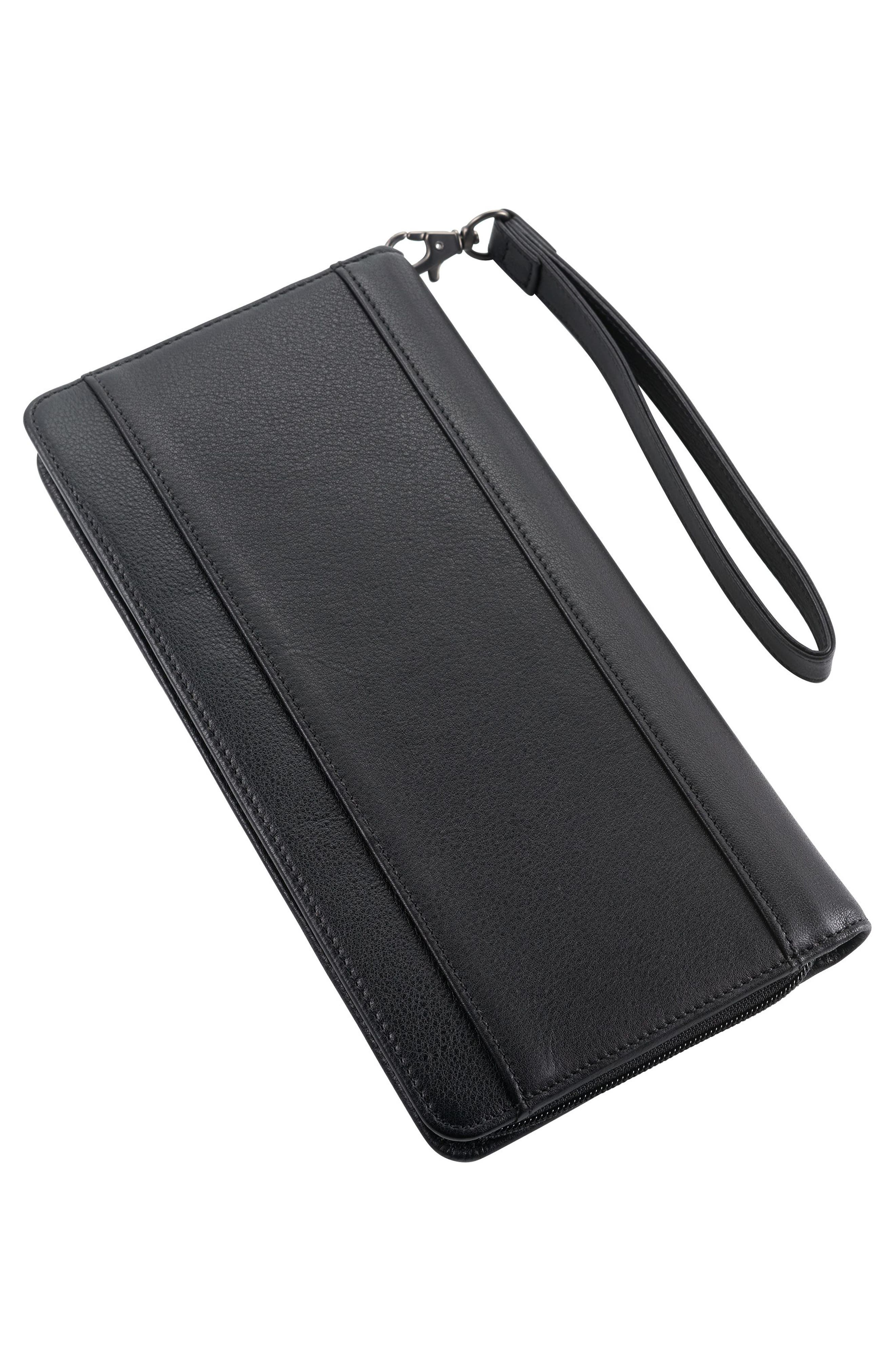 Leather Zip Wallet,                             Alternate thumbnail 2, color,