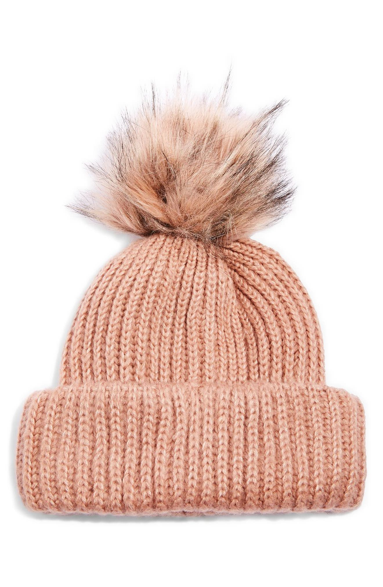 Faux Fur Pompom Beanie,                             Main thumbnail 2, color,