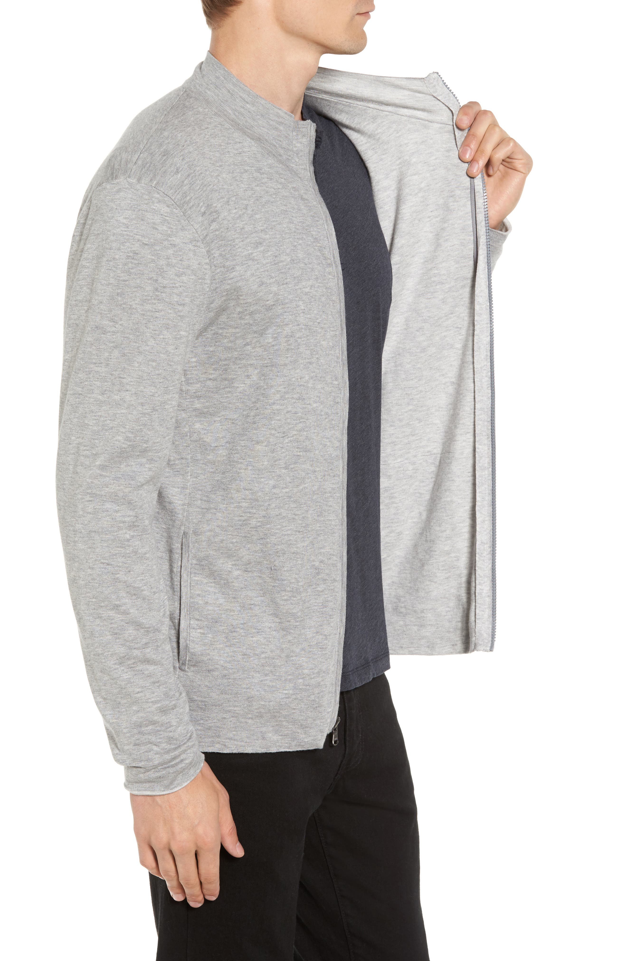 Mock Neck Zip Sweatshirt,                             Alternate thumbnail 3, color,                             020