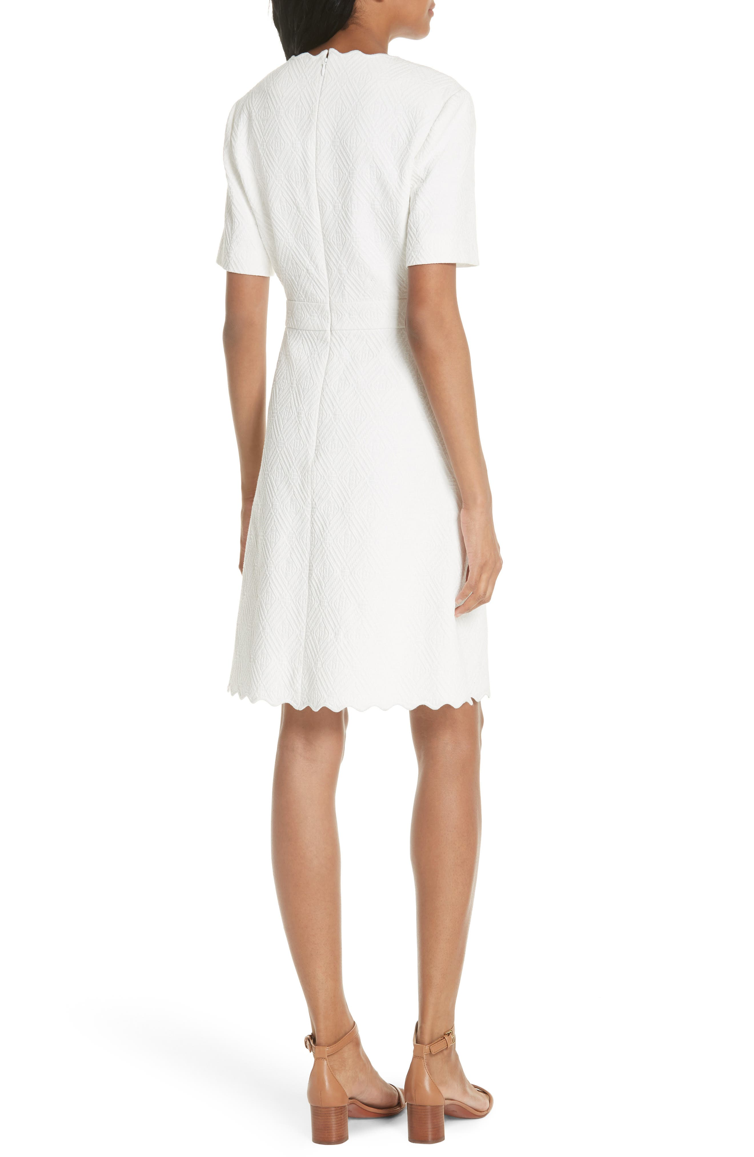 Bailey Scallop Cotton Dress,                             Alternate thumbnail 2, color,                             100