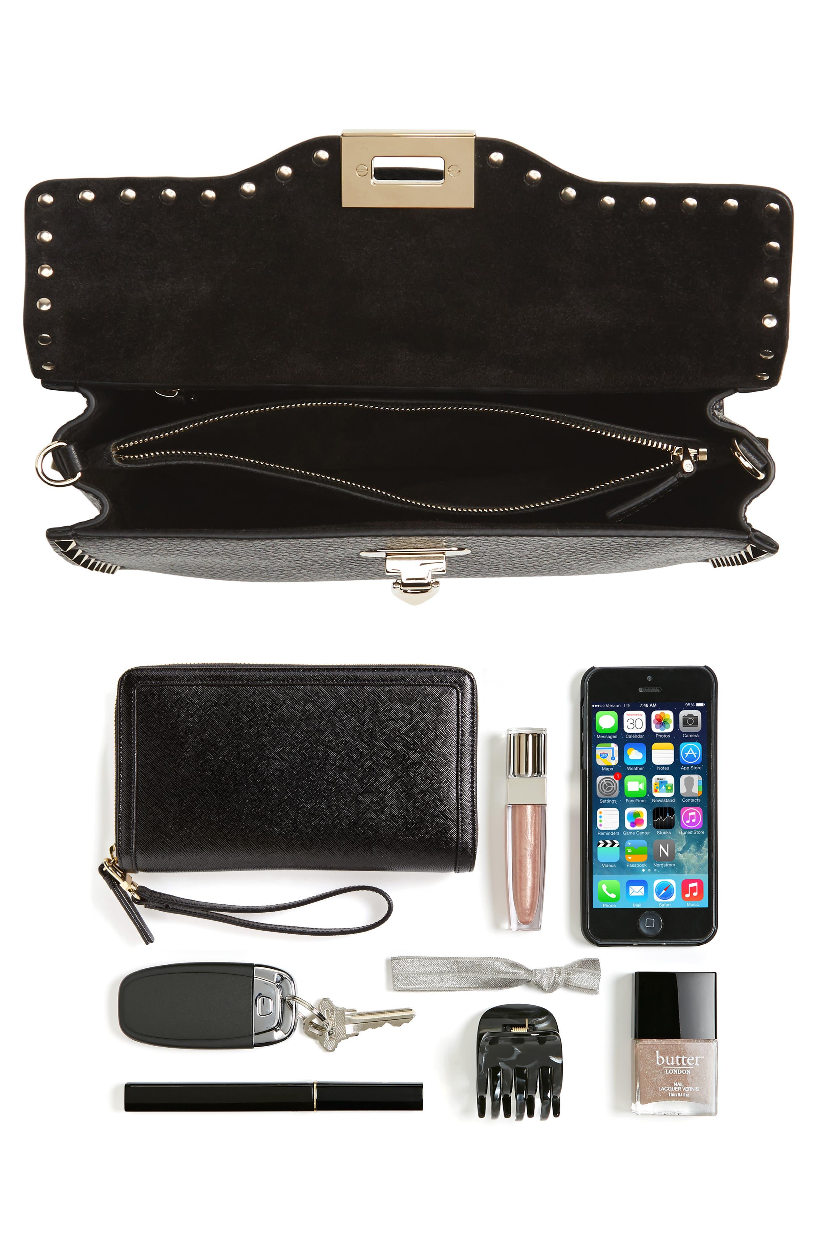 Rockstud Leather Top Handle Shoulder Bag,                             Alternate thumbnail 7, color,                             001
