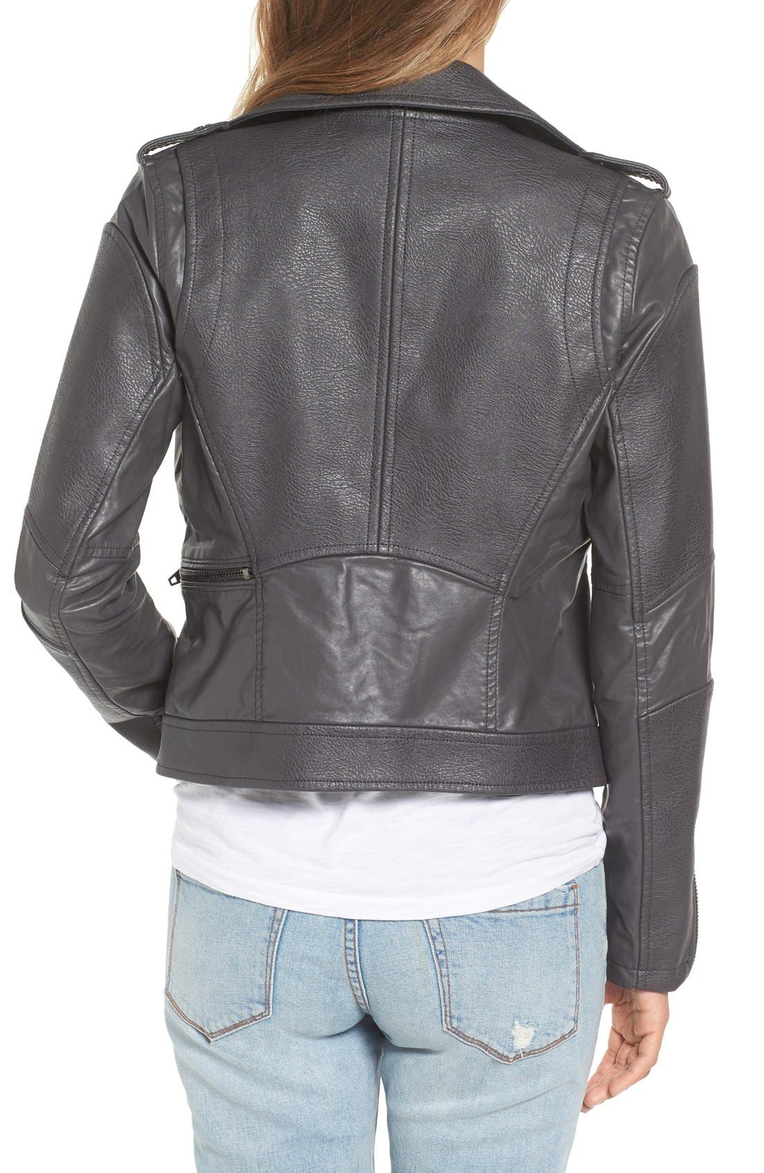 'Easy Rider' Faux Leather Moto Jacket,                             Alternate thumbnail 9, color,