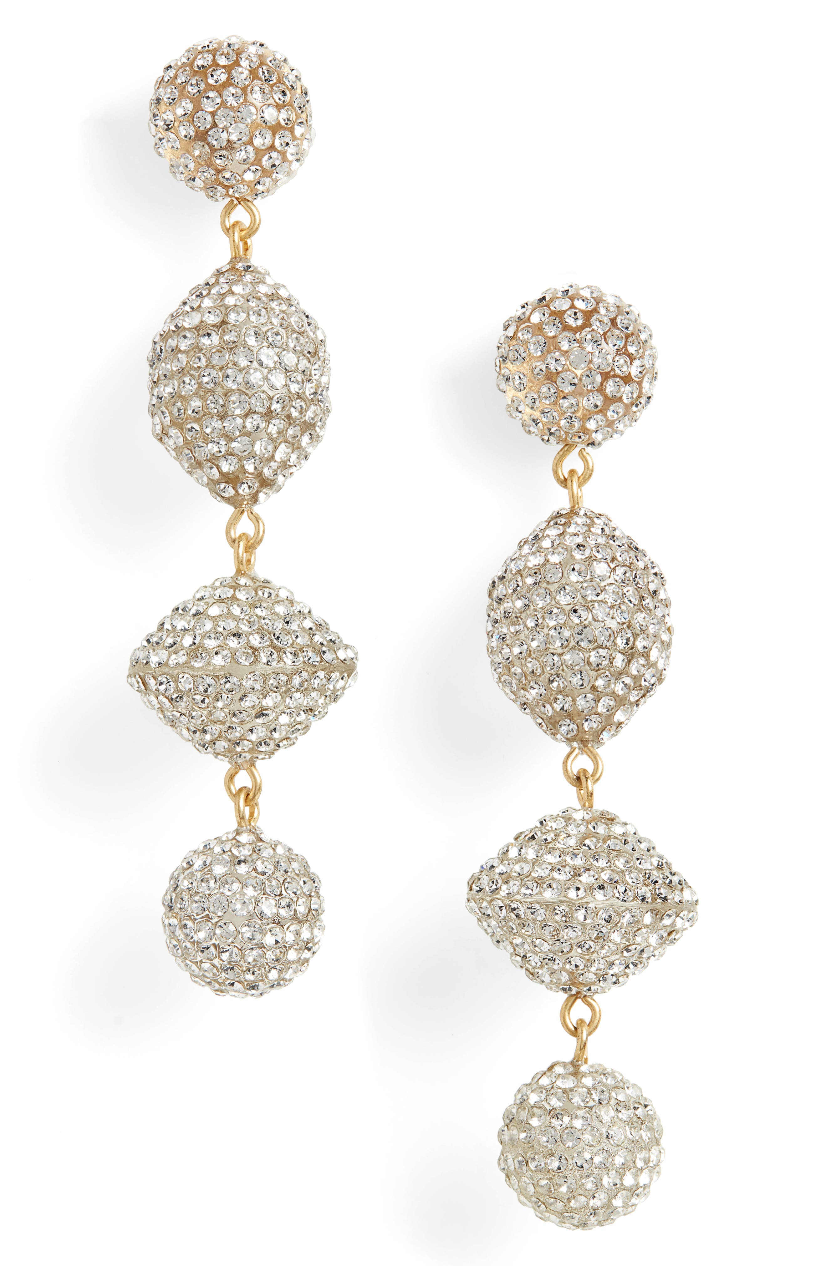 Pavé Resin Statement Earrings, Main, color, CRYSTAL