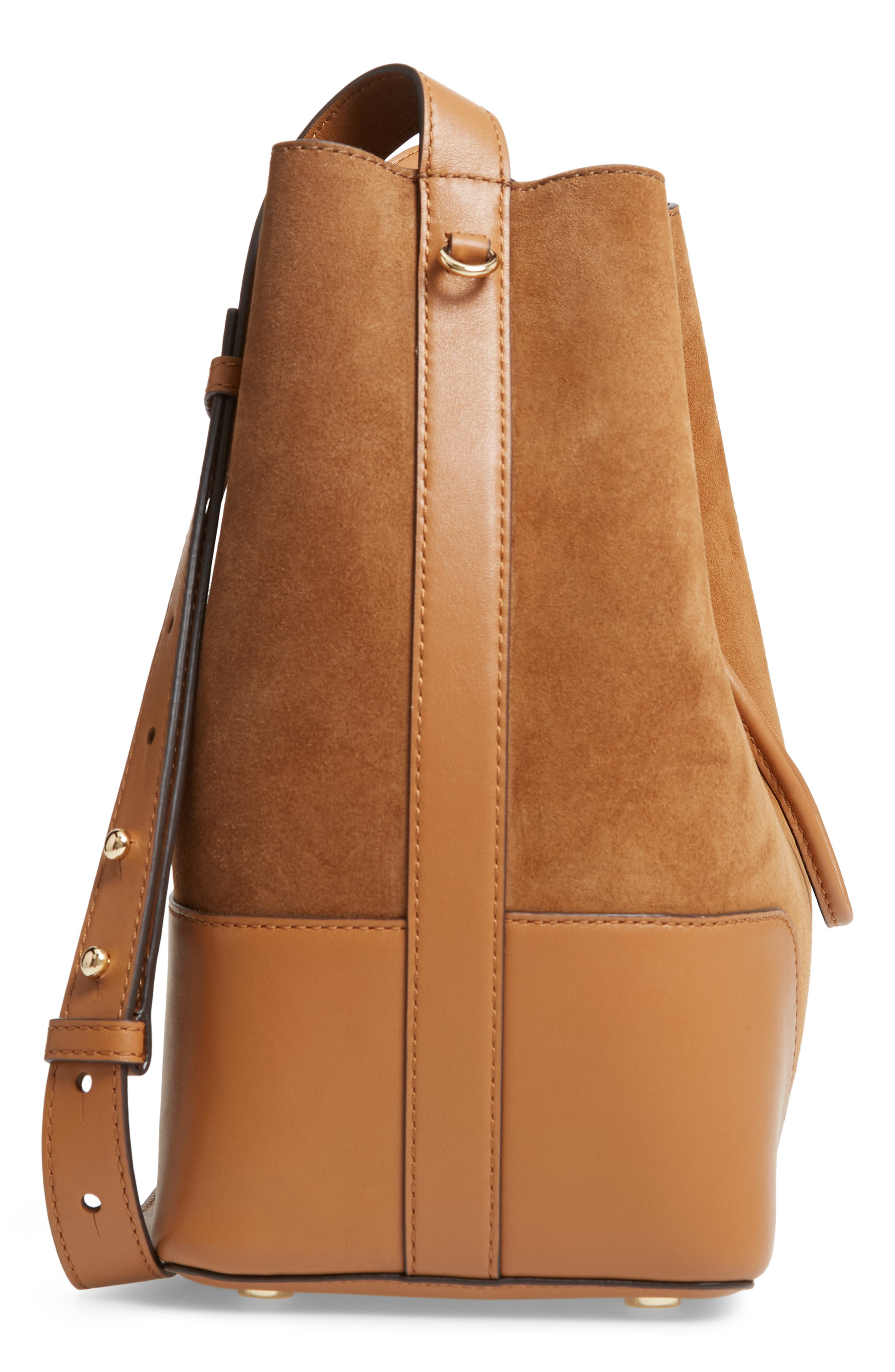 Cary Leather & Suede Bucket Bag,                             Alternate thumbnail 5, color,