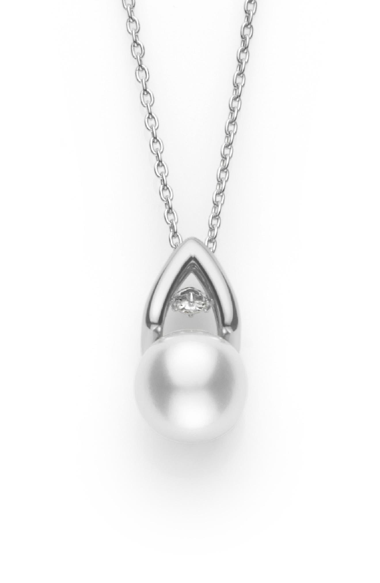 MIKIMOTO,                             Akoya Pearl & Diamond Pendant Necklace,                             Main thumbnail 1, color,                             710
