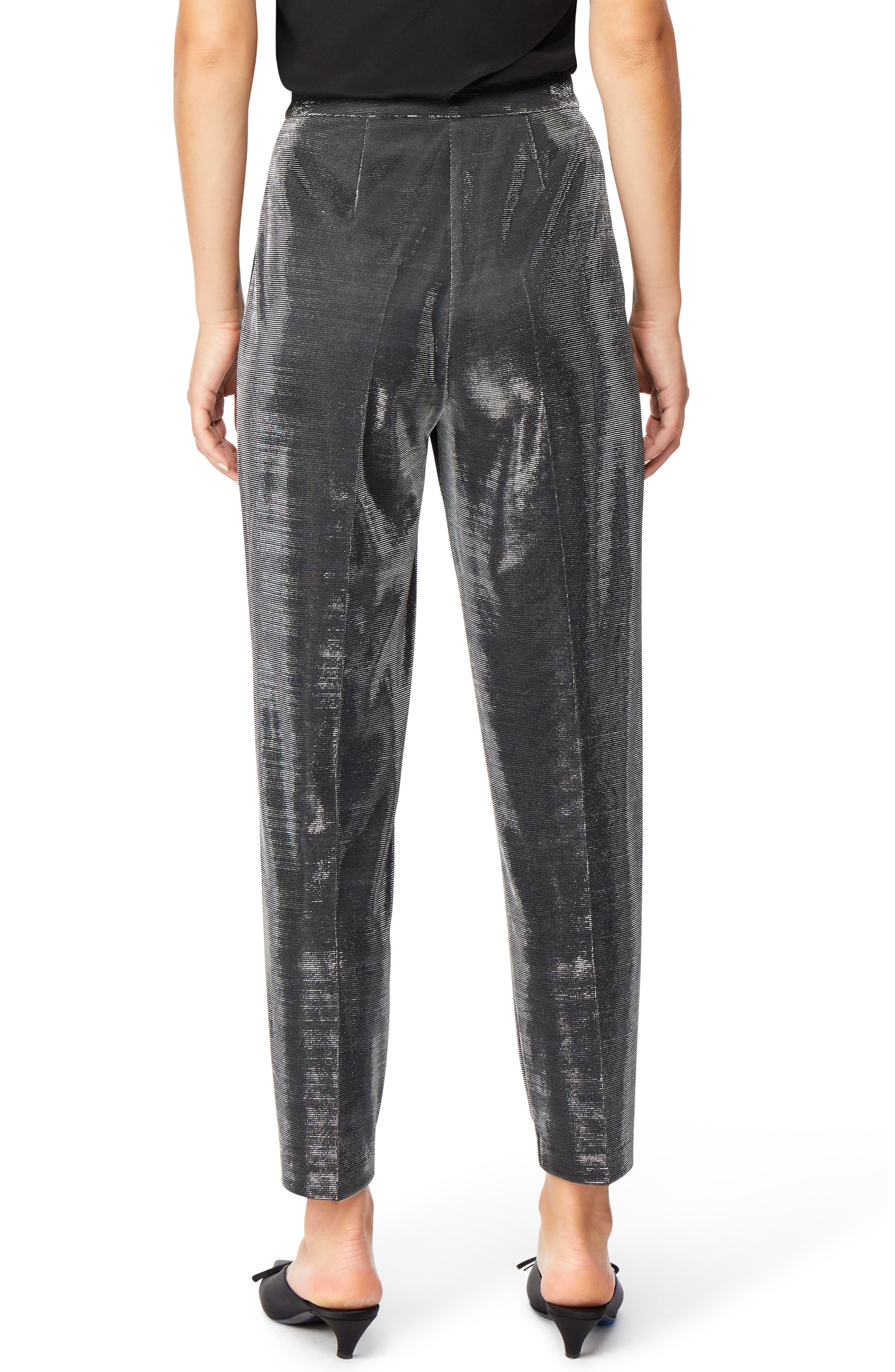 Shimmer Trousers,                             Alternate thumbnail 2, color,                             JET BLACK WITH SILVER