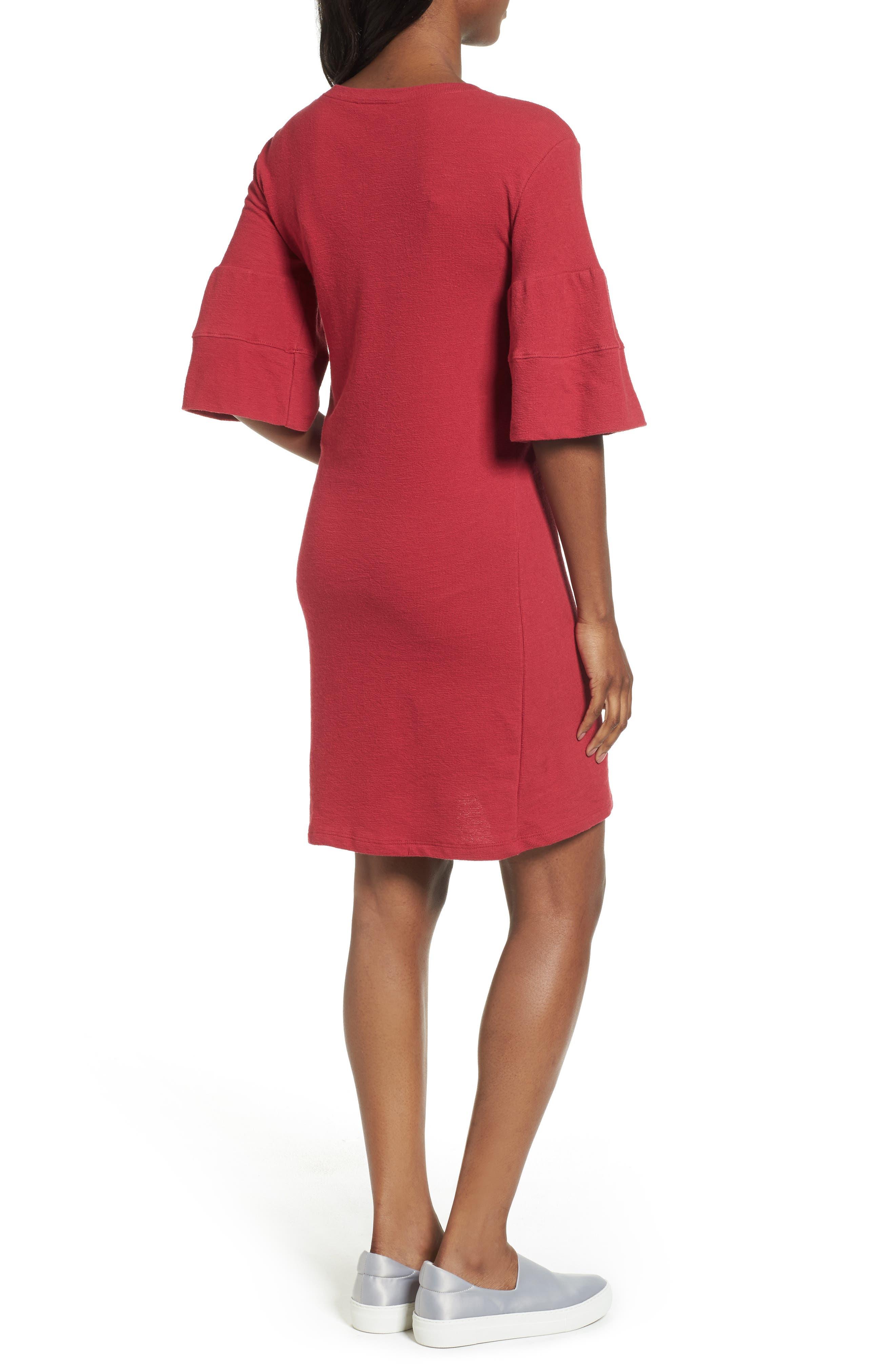 Ruffle Sleeve Knit Dress,                             Alternate thumbnail 6, color,