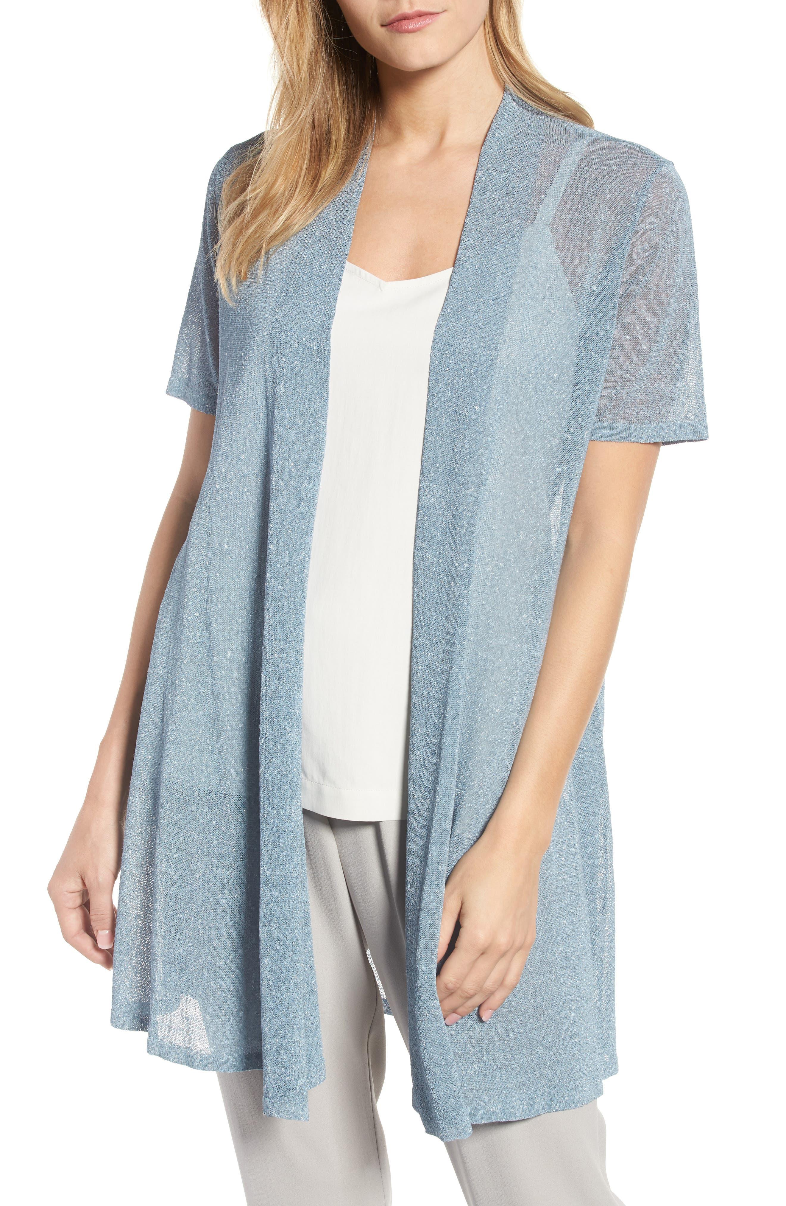Long Organic Linen Blend Cardigan,                         Main,                         color,