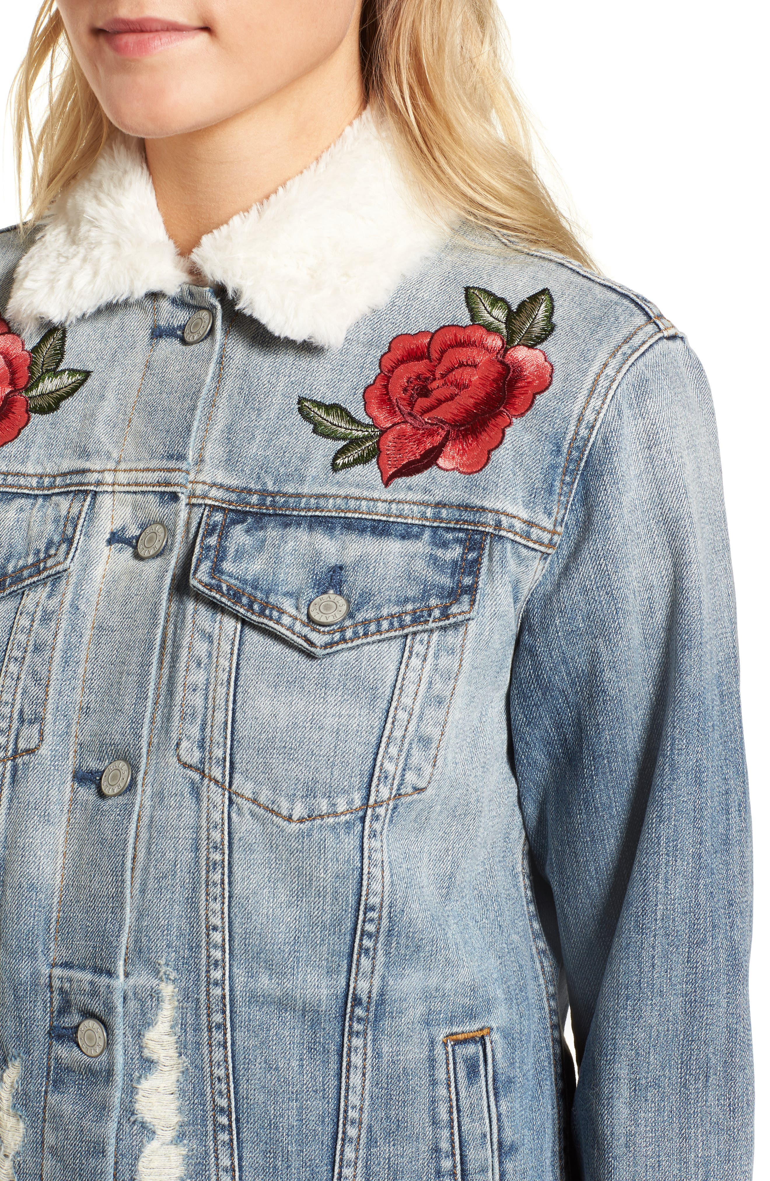 Ramsey Embroidered Denim Jacket,                             Alternate thumbnail 4, color,                             493
