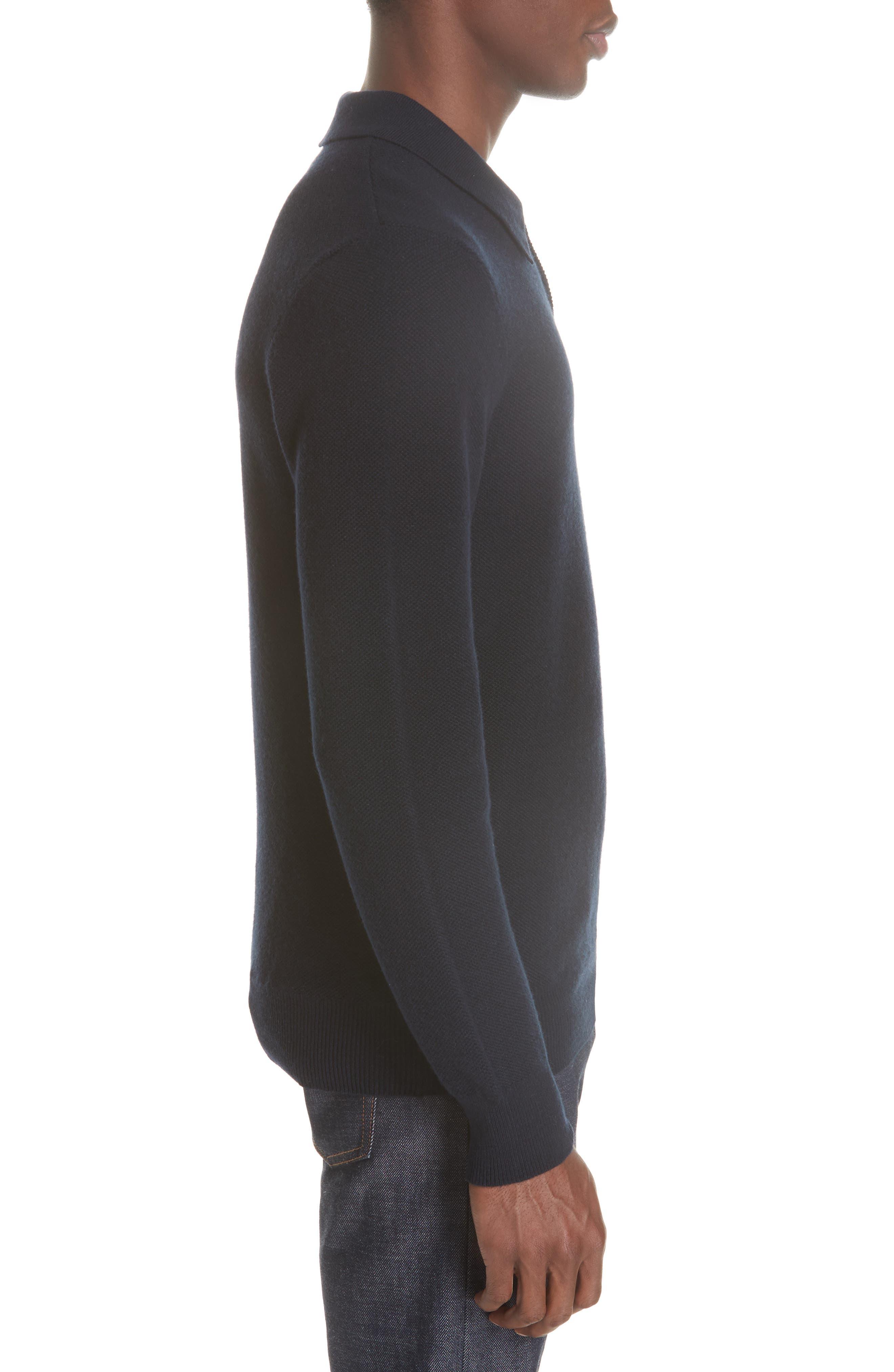 Wool & Cashmere Long Sleeve Polo,                             Alternate thumbnail 3, color,                             IAK NAVY
