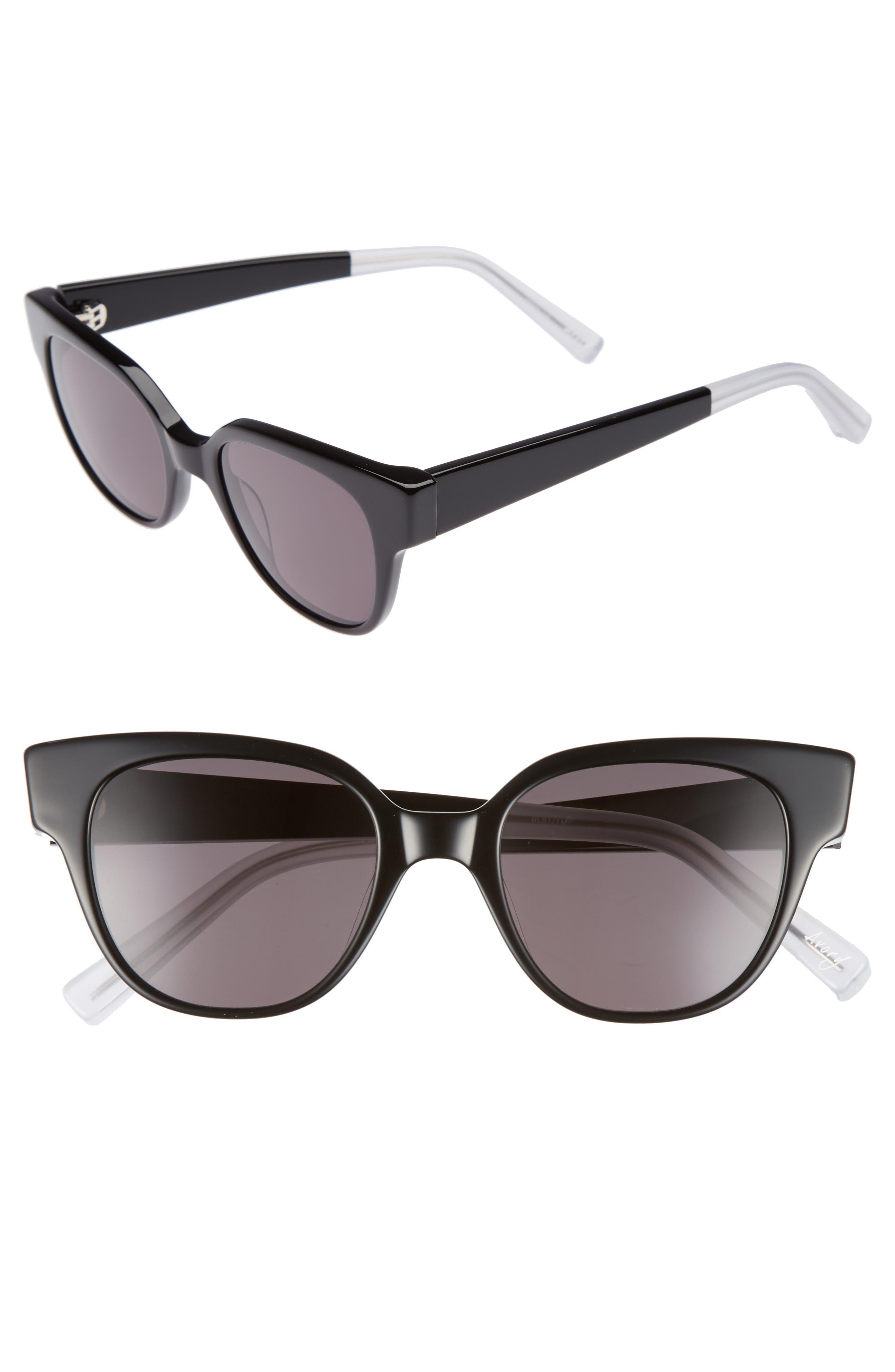 Avory 49mm Cat Eye Sunglasses,                         Main,                         color, 001