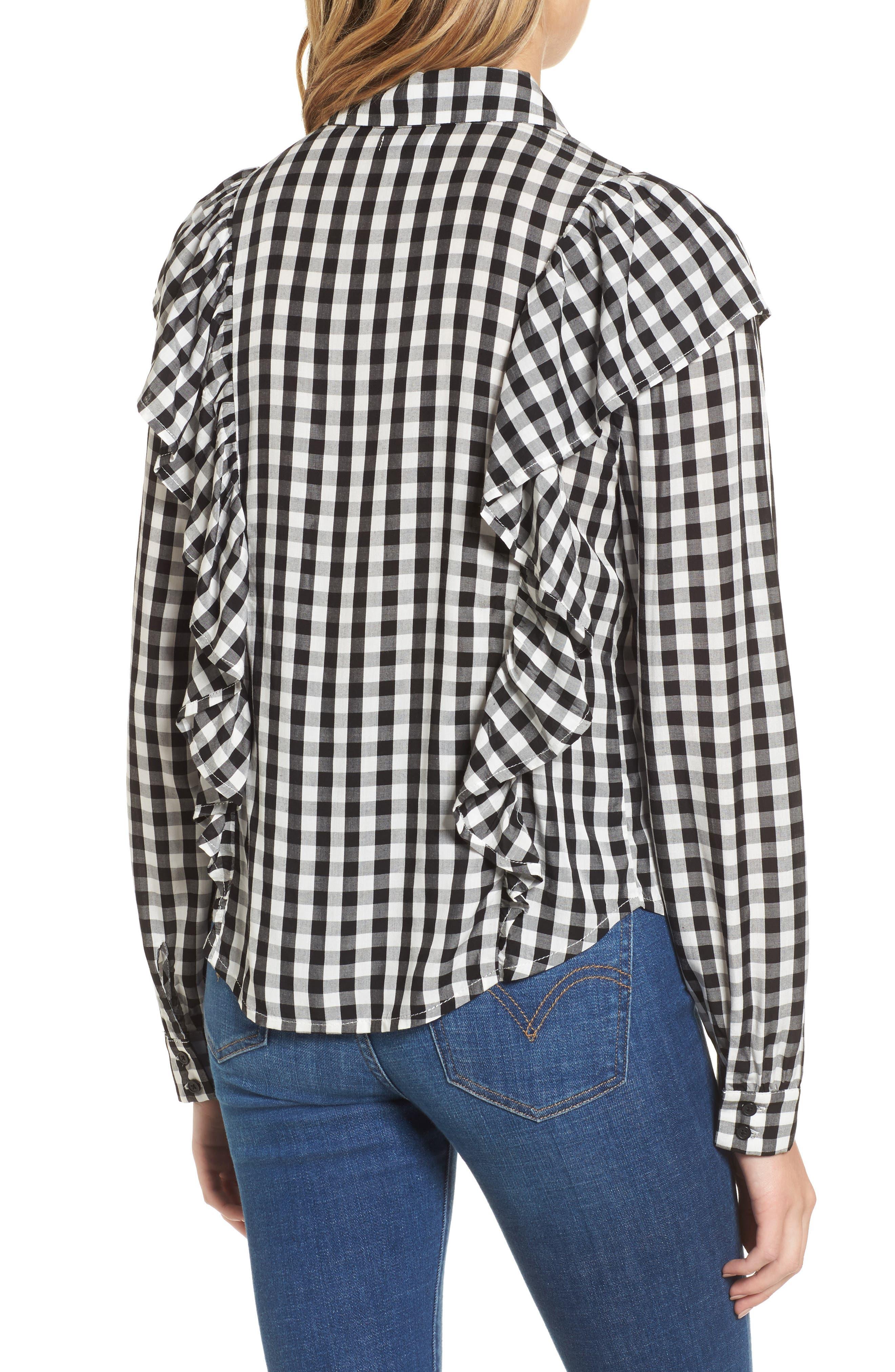 Ruffle Gingham Shirt,                             Alternate thumbnail 2, color,                             001