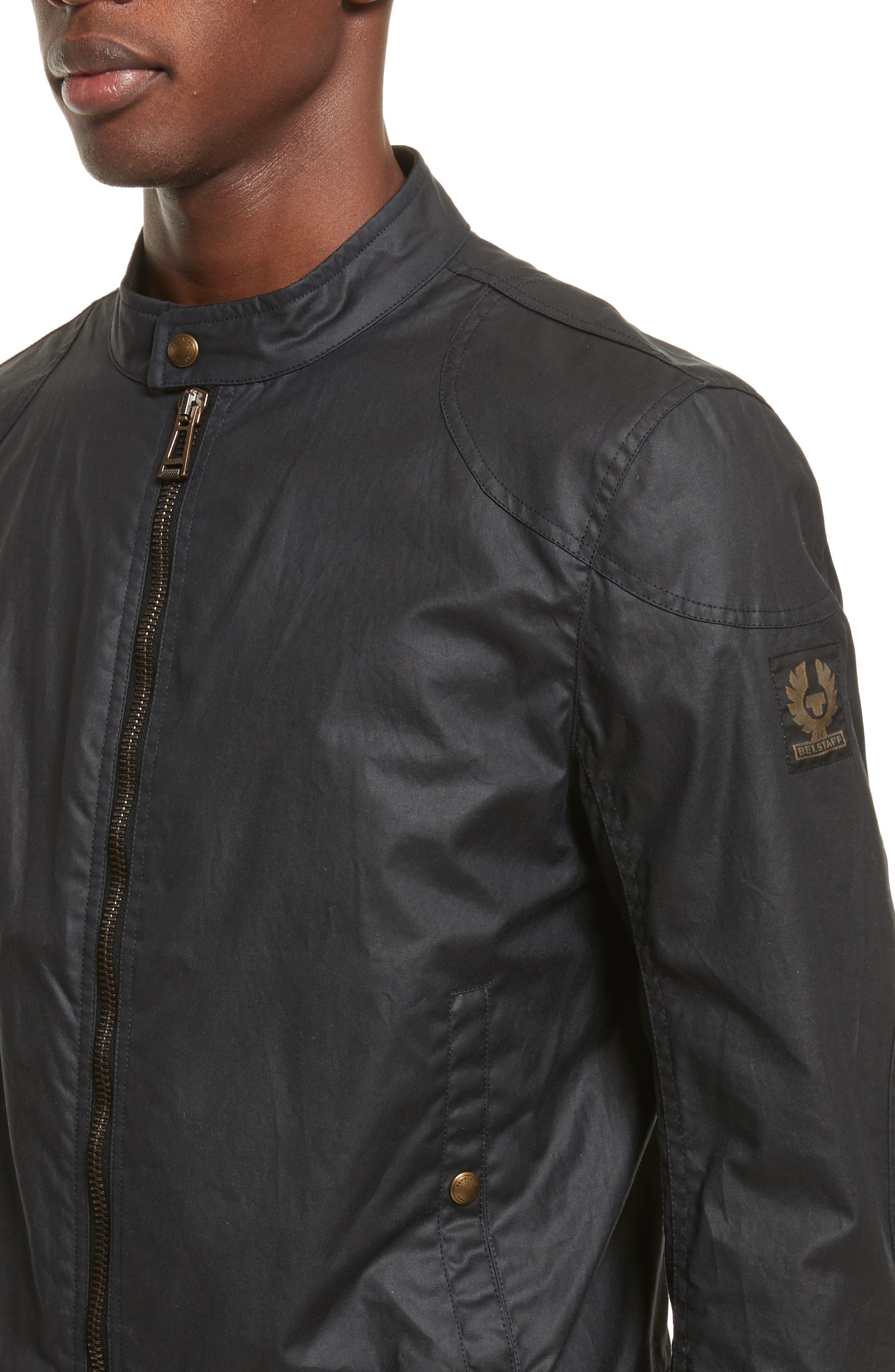 Kelland Coated Cotton Moto Jacket,                             Alternate thumbnail 4, color,                             DARK NAVY