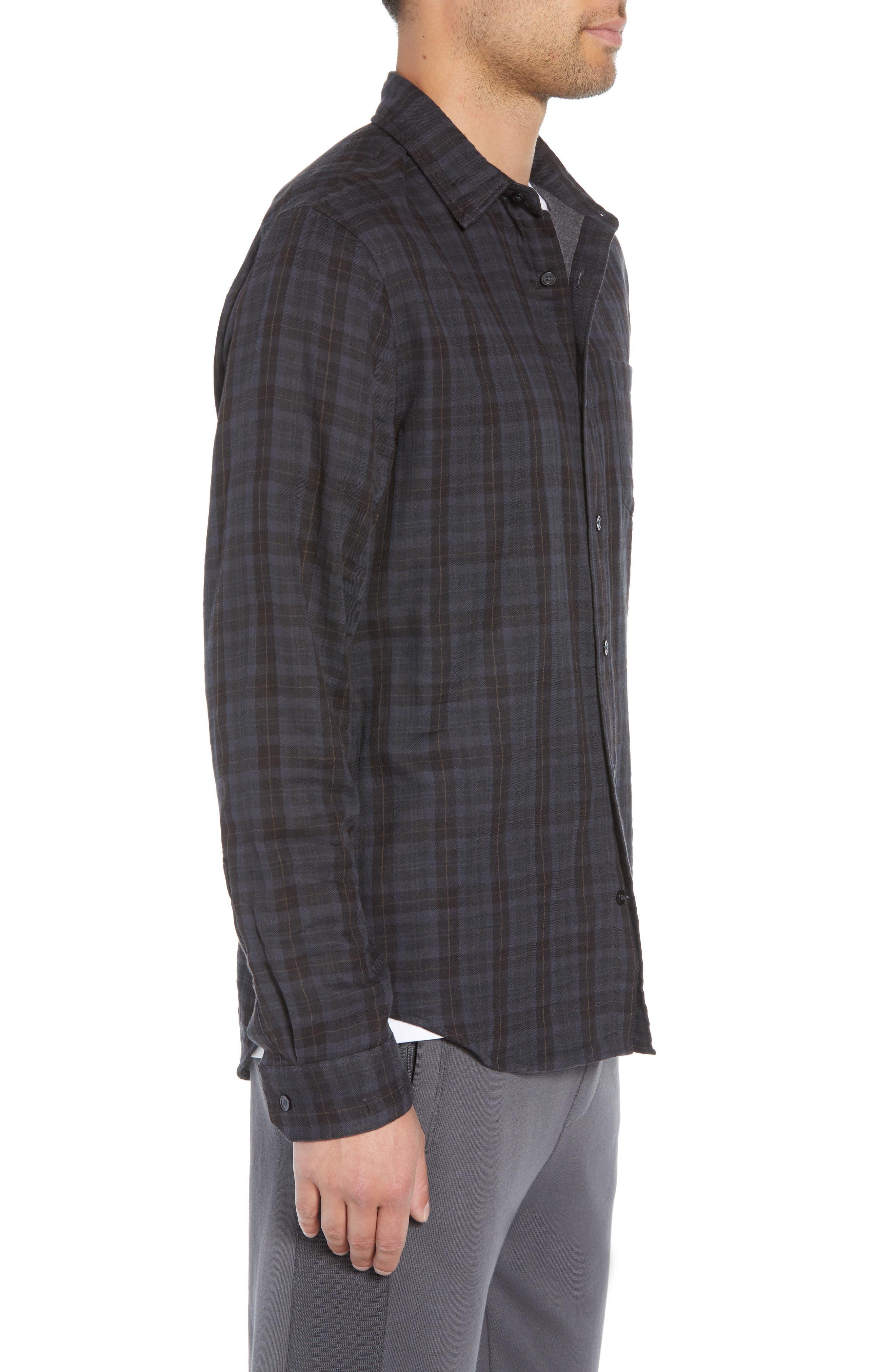 Slim Fit Plaid Double Knit Sport Shirt,                             Alternate thumbnail 4, color,                             SLATE