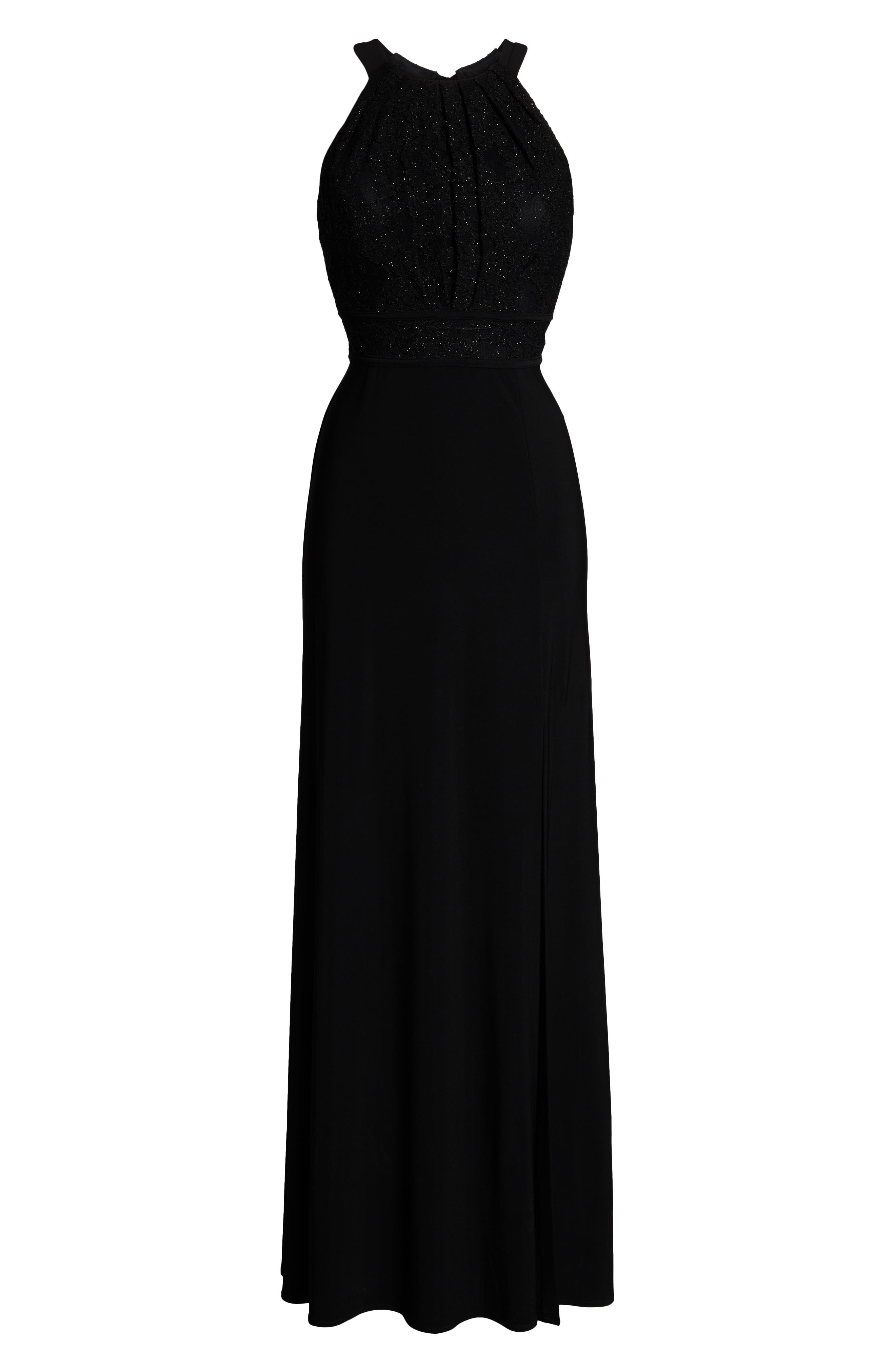 MORGAN & CO.,                             Pleat Lace Bodice Evening Dress,                             Alternate thumbnail 7, color,                             BLACK