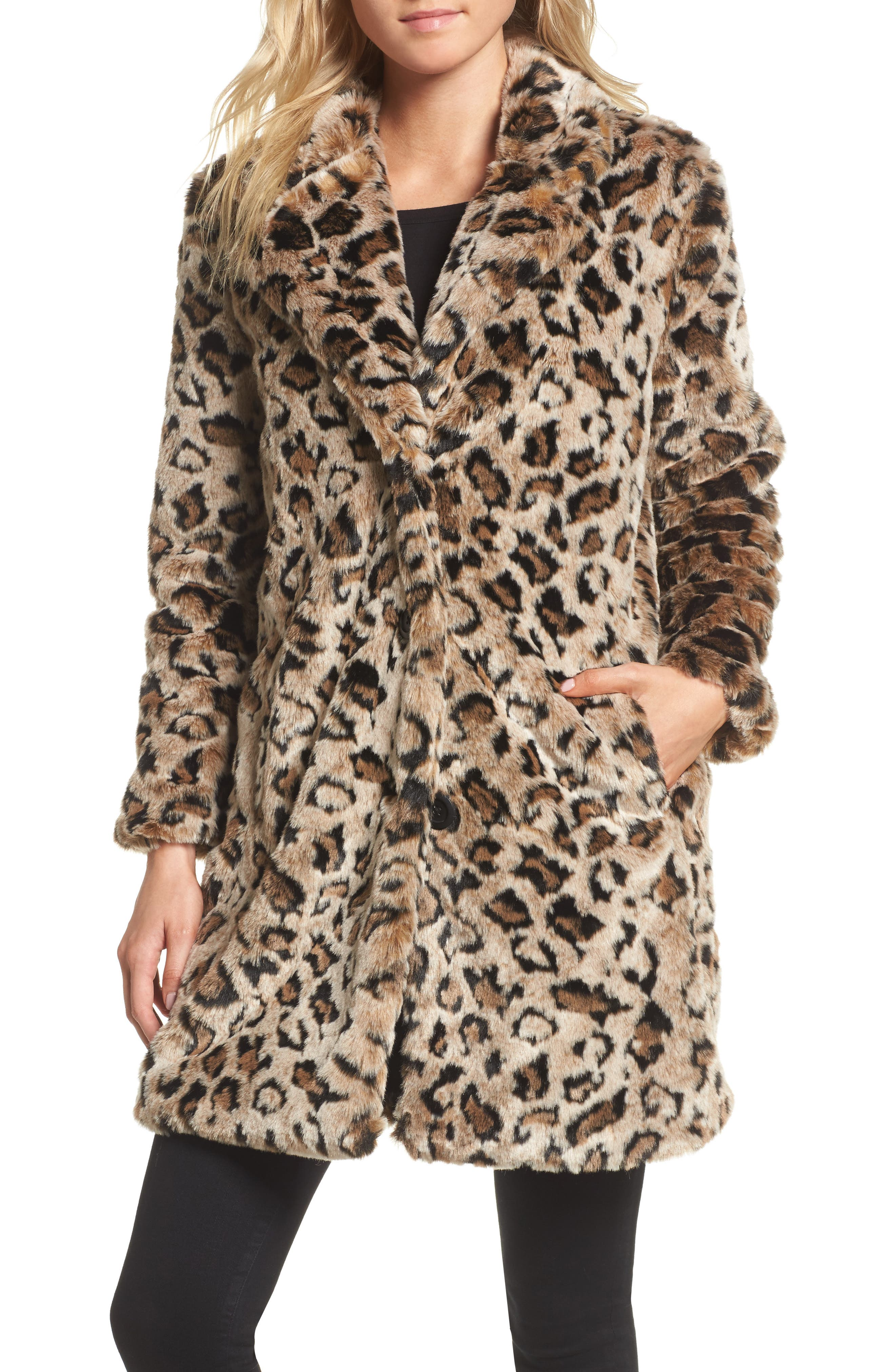 Abeni Faux Fur Coat,                             Alternate thumbnail 4, color,